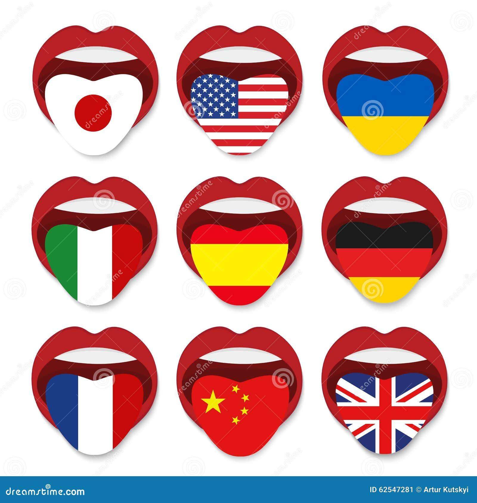 concept d u0026 39  u00e9cole de langue  u00e9trang u00e8re drapeau ouvert de bouche de langue de langue  u00e9trang u00e8re des