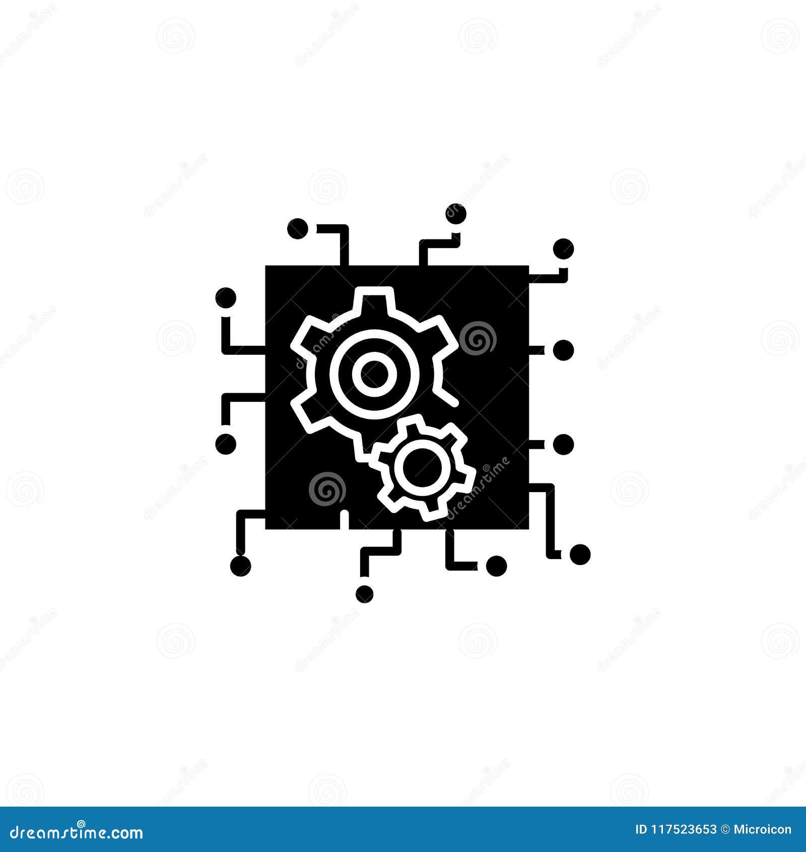 Concept d icône de noir d intelligence artificielle Symbole plat de vecteur d intelligence artificielle, signe, illustration