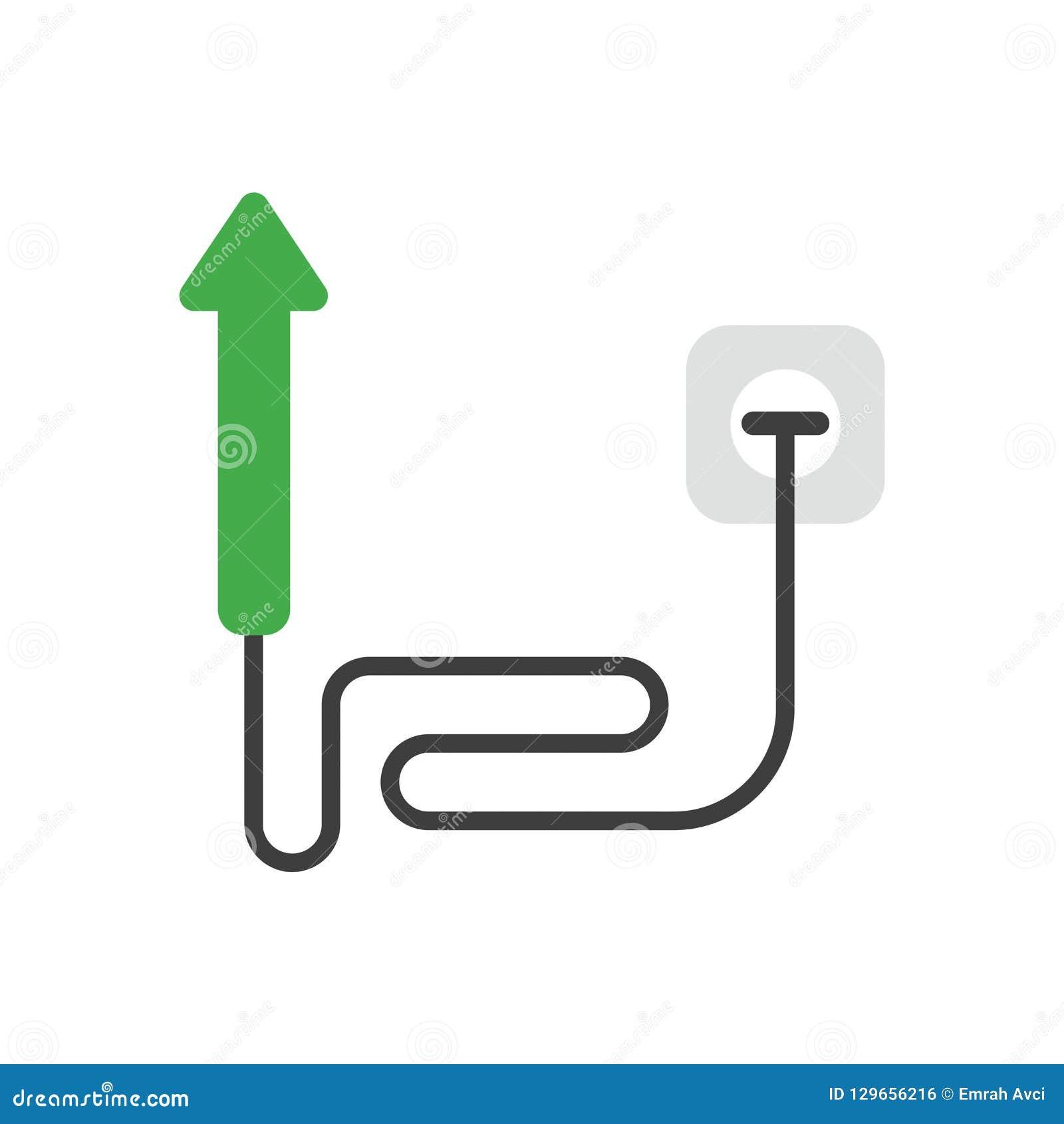 Concept d icône de vecteur de flèche abaissant avec le câble et branché