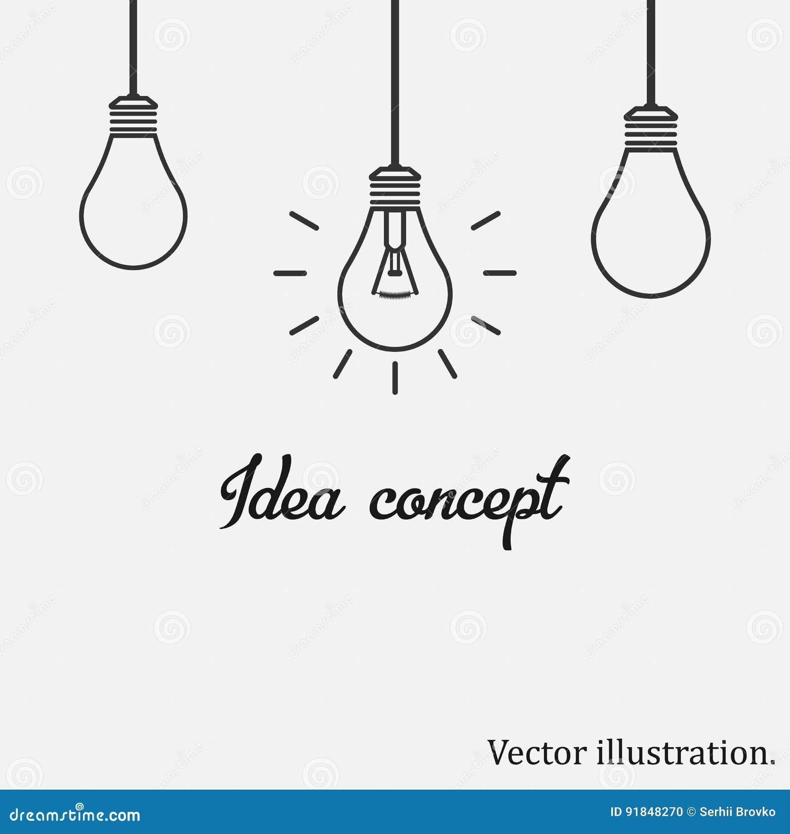 Concept d idée Concept d idée, illustration de vecteur Icône d ampoules