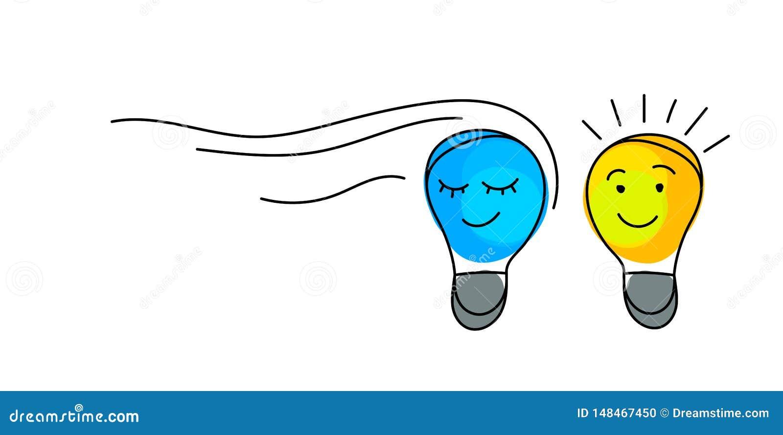 Concept d id?e Ampoules avec des visages de caract?re