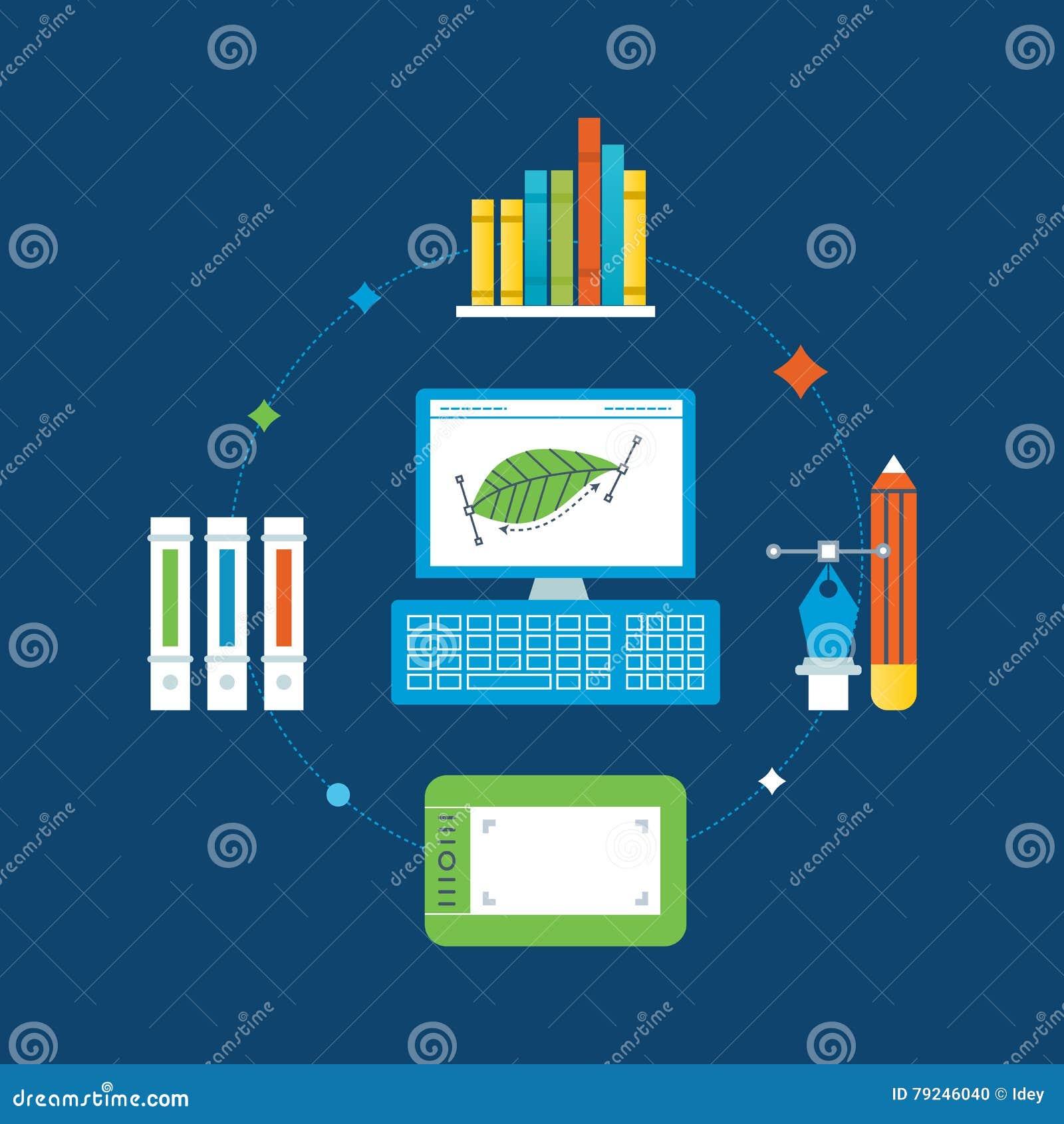 Concept d illustration - conception graphique, outils de formation et d exécution