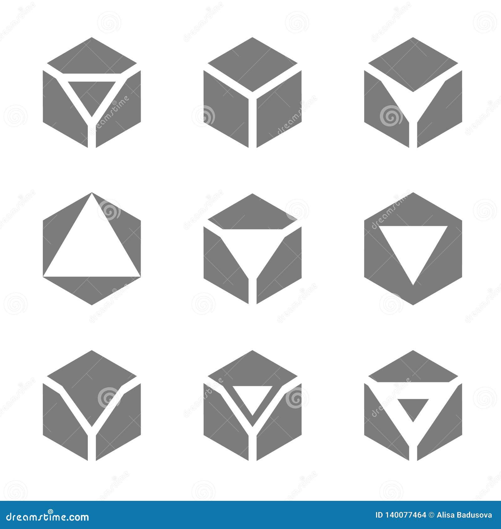 Concept d illustration de vecteur de logo de pentagone Graphisme sur le fond blanc