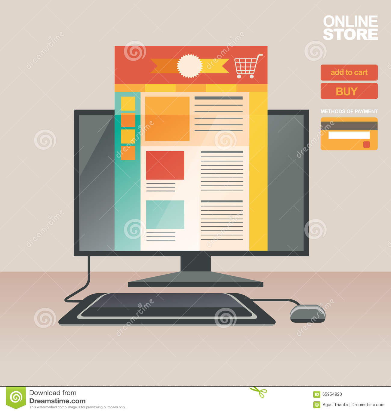 concept d 39 illustration de vecteur pour sur la ligne magasin vente de digital achat sur la ligne. Black Bedroom Furniture Sets. Home Design Ideas
