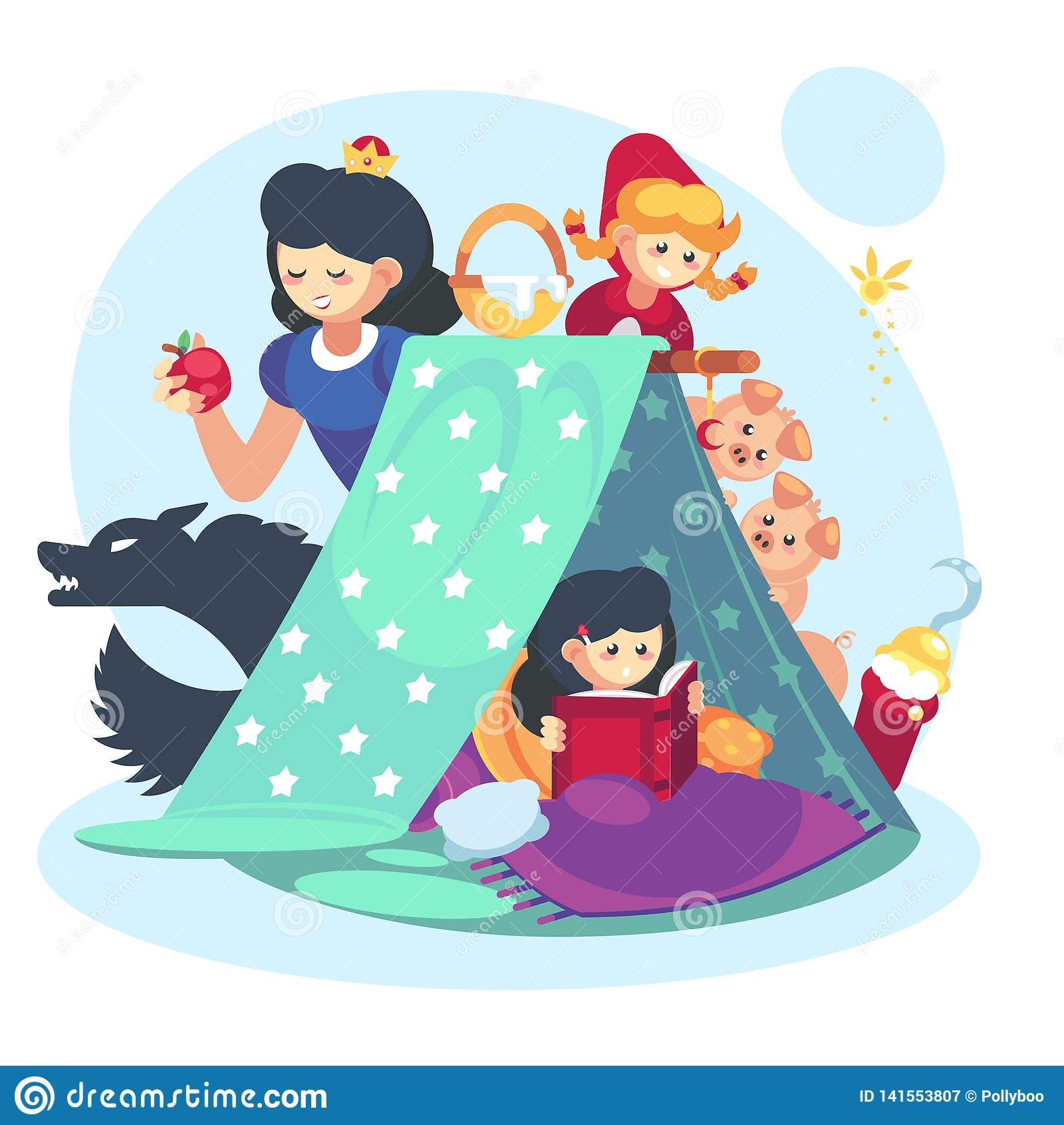 Concept d imagination, petite fille d enfant avec le livre ouvert Enfance heureux de fort de couverture de caractère de contes de