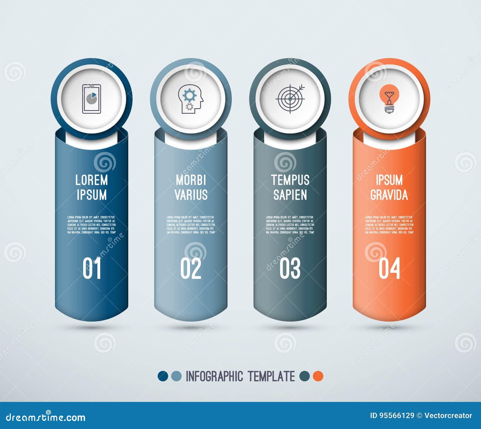 Concept d Infographic de 4 éléments verticaux