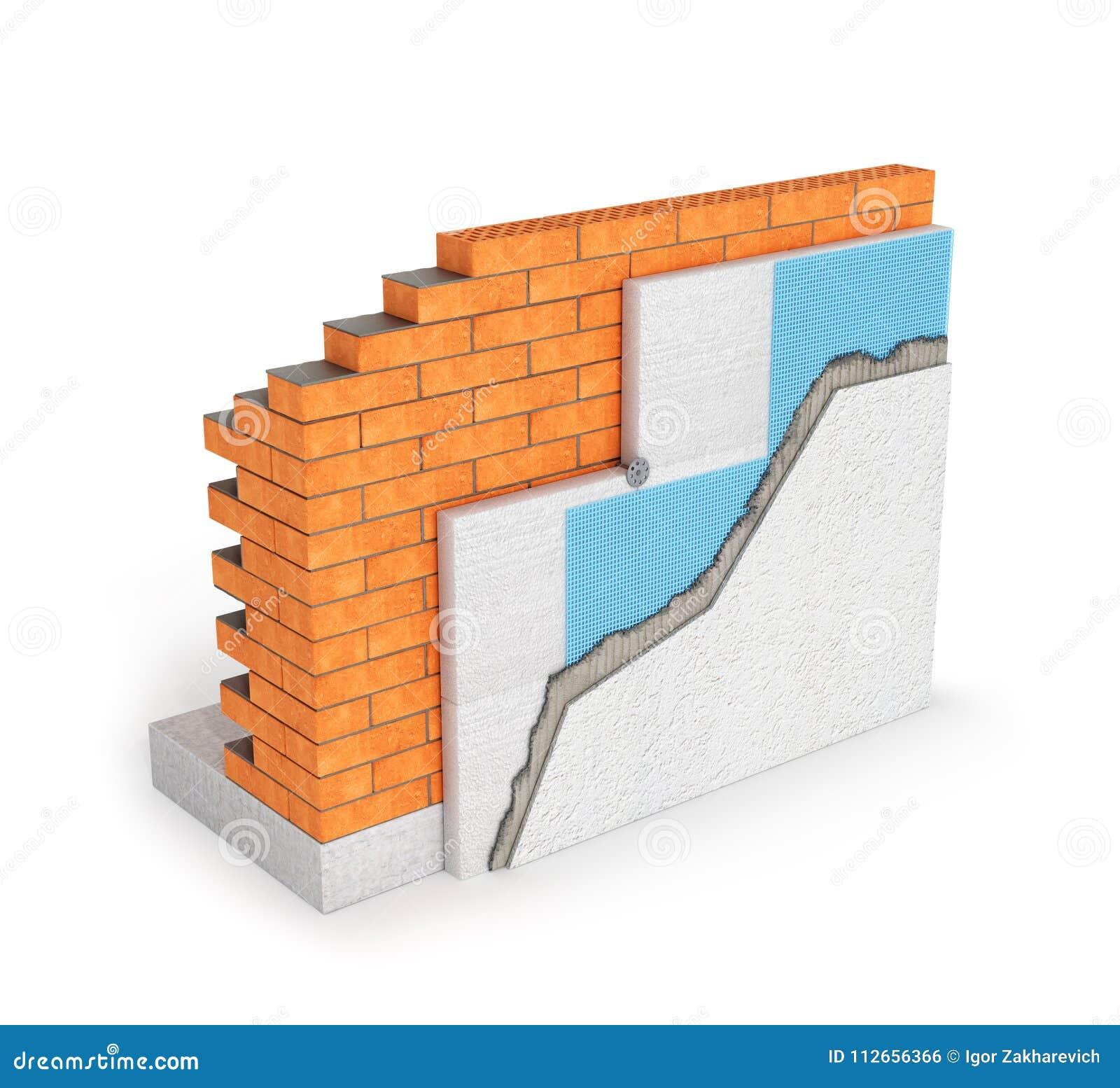 concept d 39 isolement d 39 isolation thermique de mur de briques sur le fond blanc 3d illustration. Black Bedroom Furniture Sets. Home Design Ideas