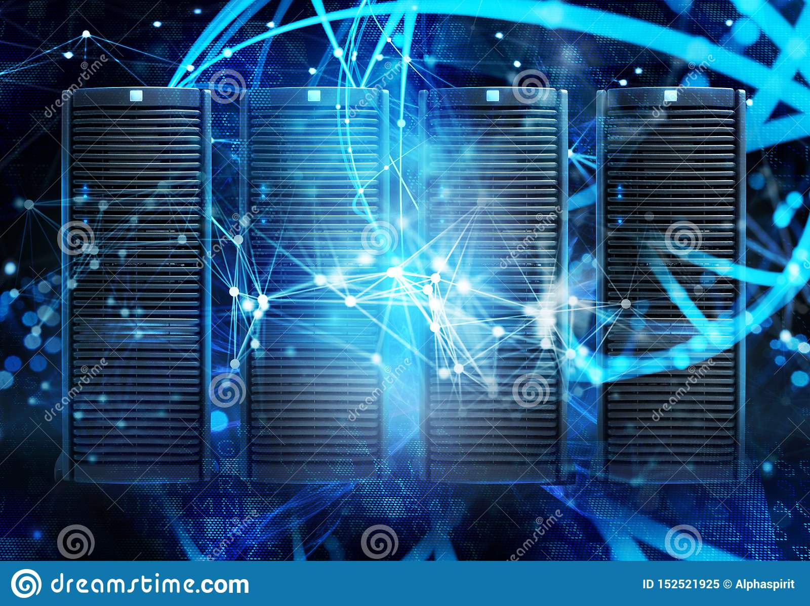 Concept of a data center room with database server and network effects.