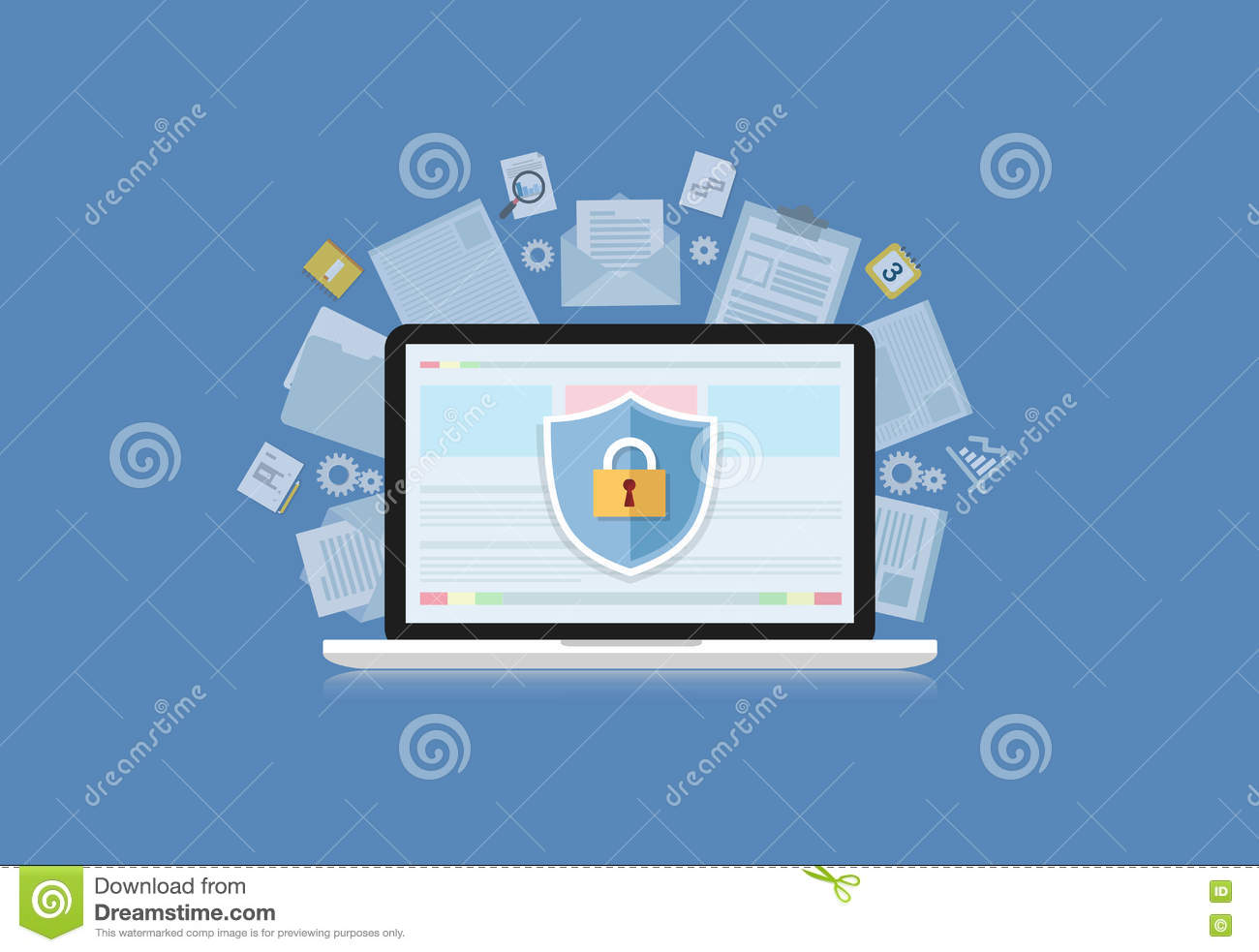 Concept Is Data Security Center  Shield On Computer Laptop