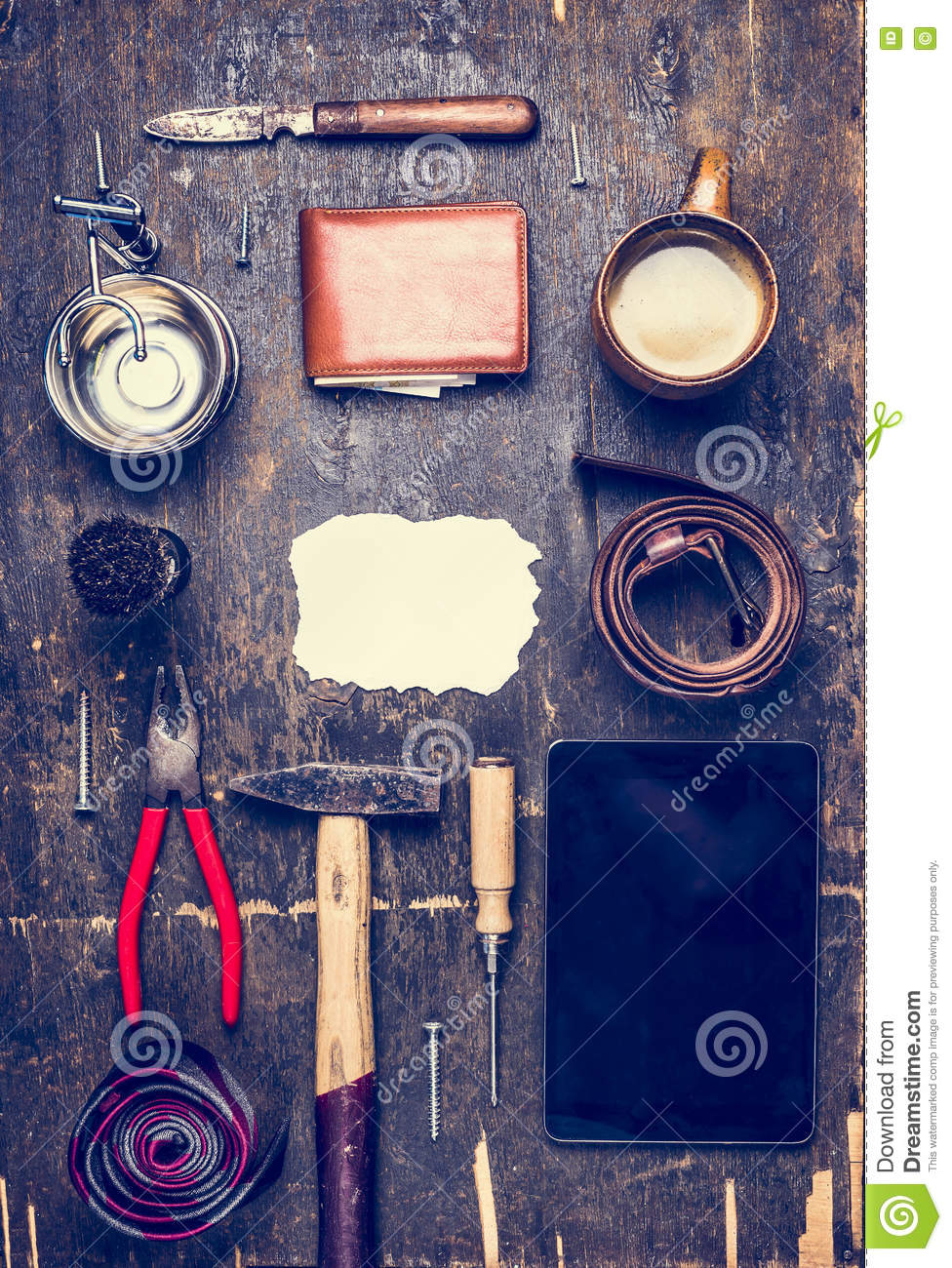 Concept of the day of his father, a variety of men s accessories and tools, plate, belt, knife, shaving brush top view