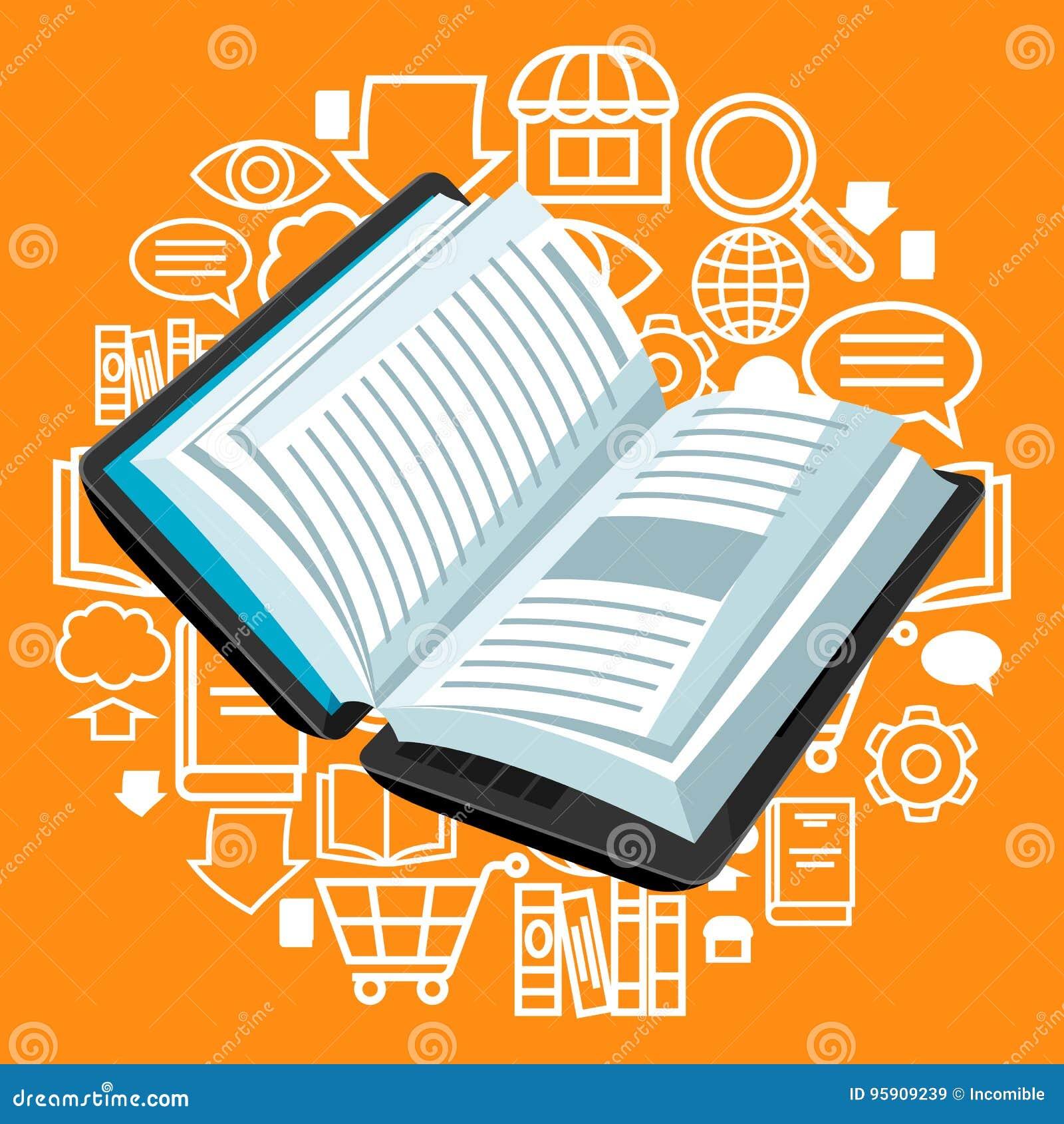 Concept De Bibliotheque De Digital Ordinateur Portable Avec