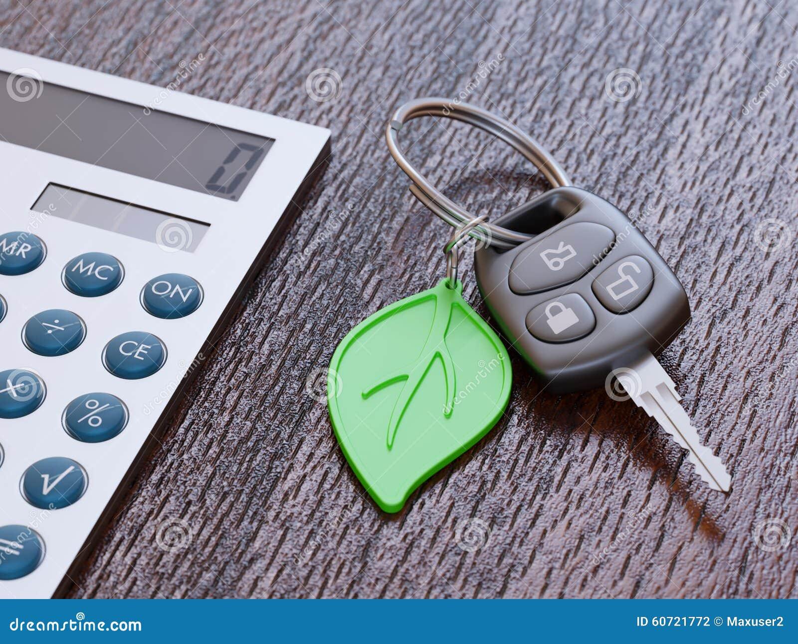 concept de calcul de prêt automobile avec des clés de voiture photo