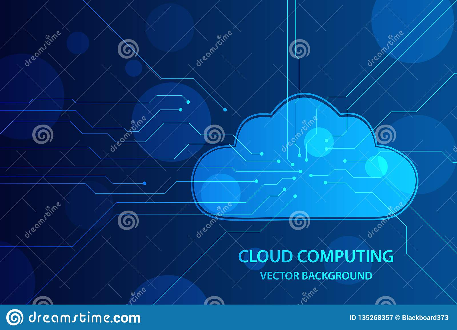 Concept de calcul de nuage et de technique de protection de réseau, nuage avec la ligne de carte à l arrière-plan bleu Fond de ve