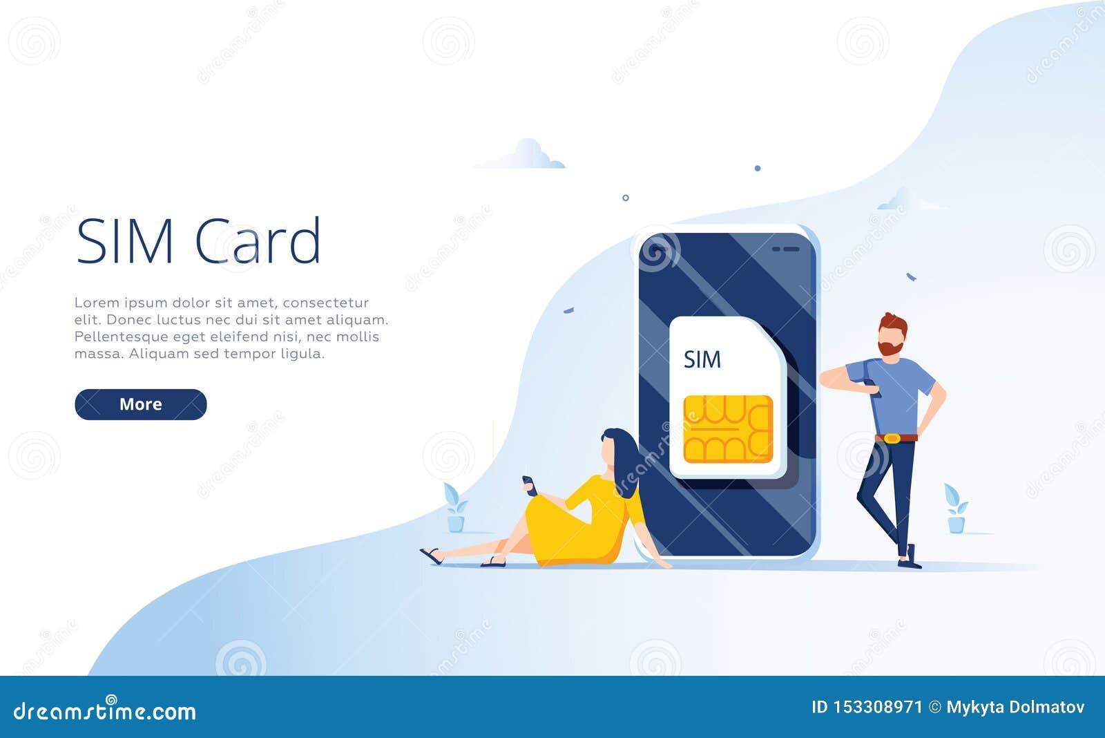 Concept de carte de SIM dans l illustration de vecteur r Drapeau de Web