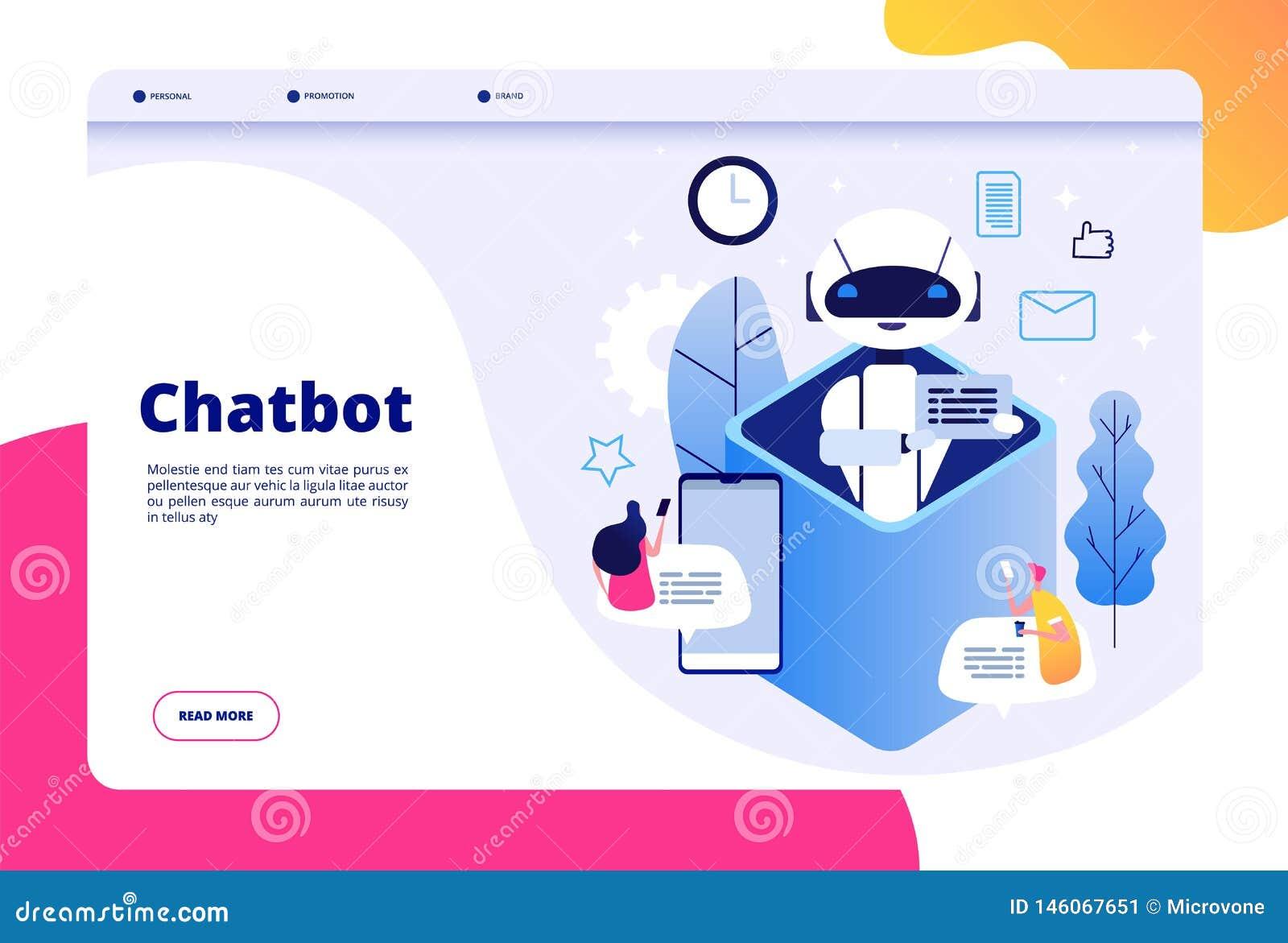 Concept de Chatbot La causerie avec l homme androïde de femme parlant avec le téléphone portable aux bots d application d AI aide