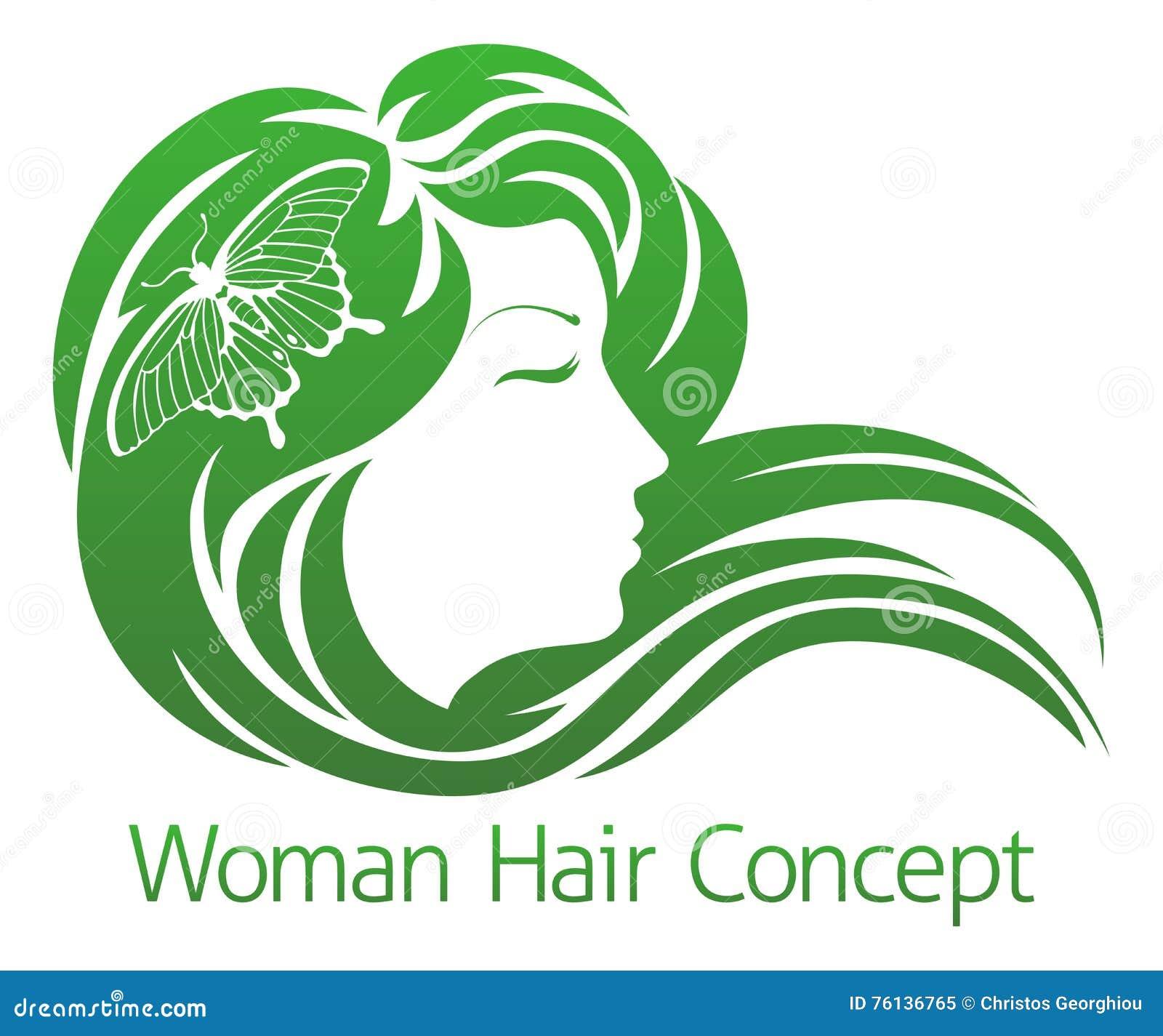 Concept De Cheveux De Papillon De Femme Illustration De Vecteur