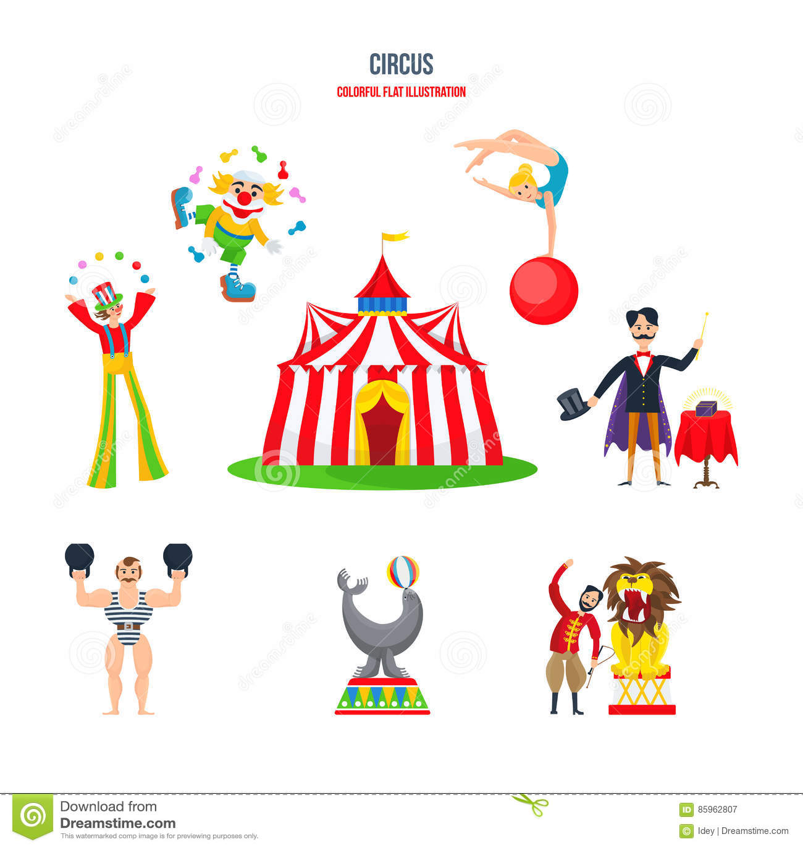 Concept De Cirque Representations Clowns Jongleurs Homme Fort