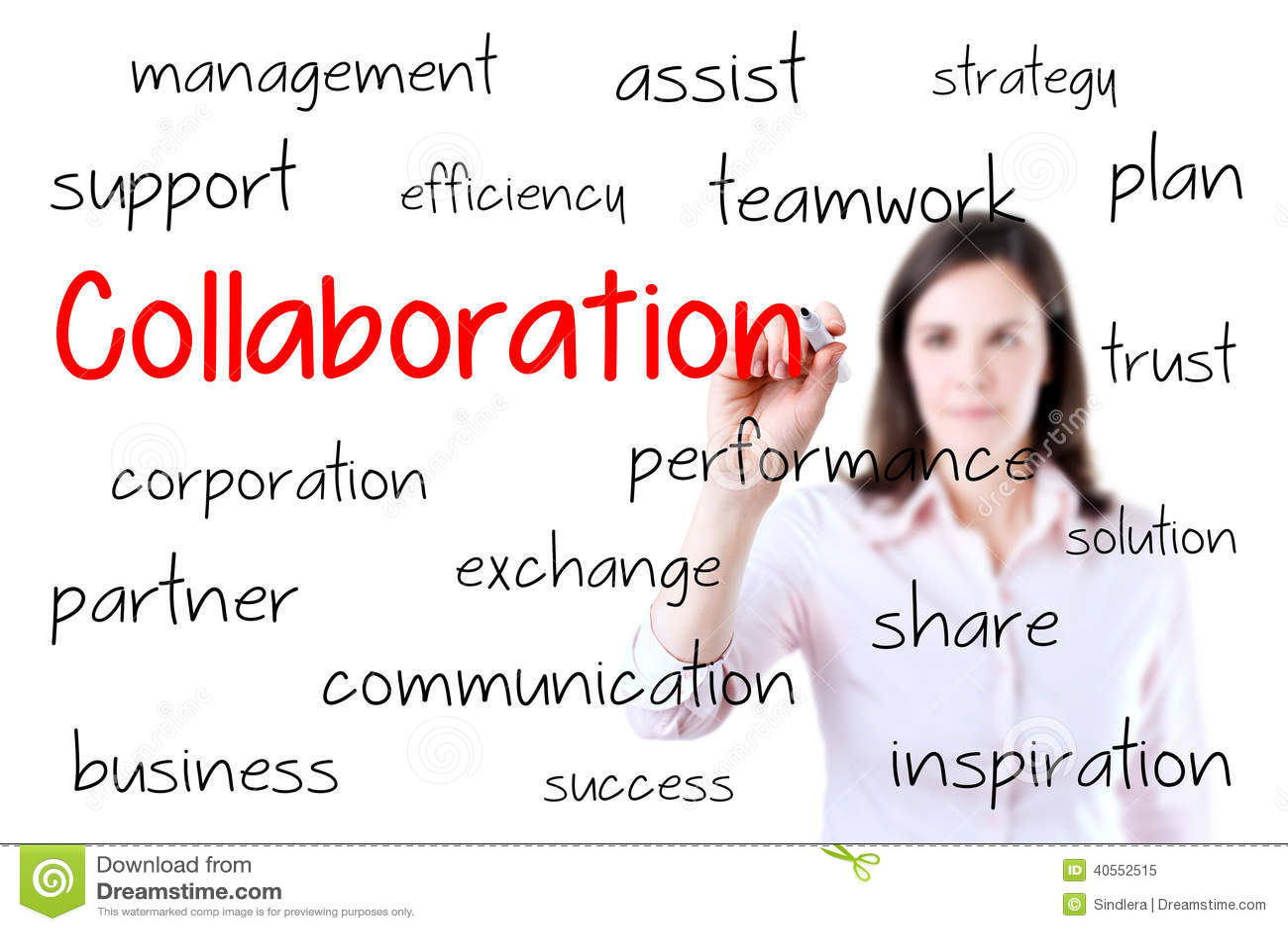 Concept de collaboration d écriture de femme d affaires Isolant