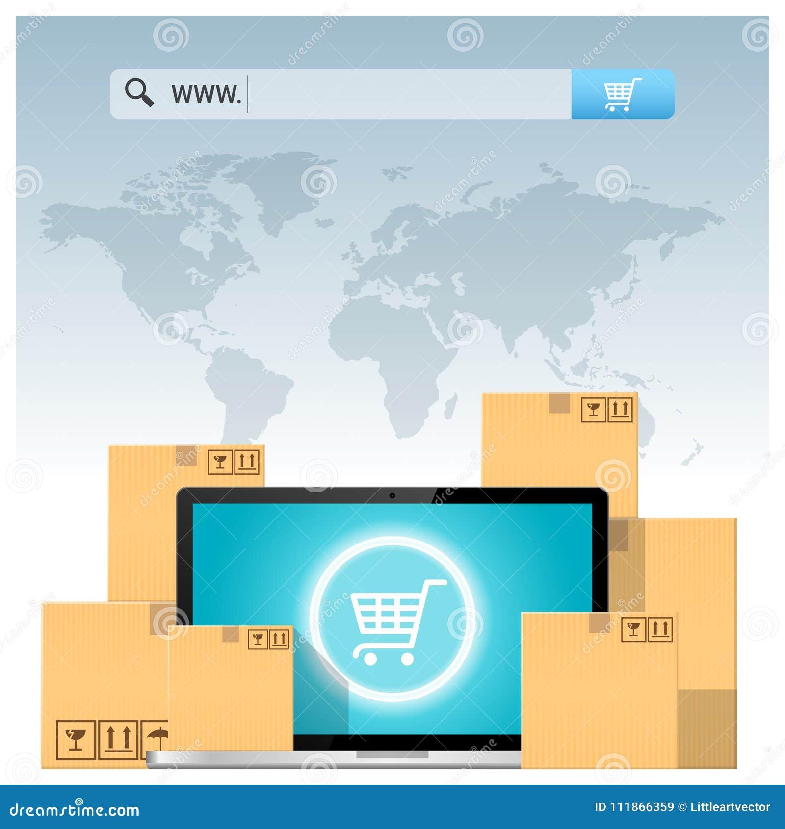 Concept de commerce électronique avec la barre d adresse au-dessus des boîtes en carton et de l ordinateur portable d ordinateur