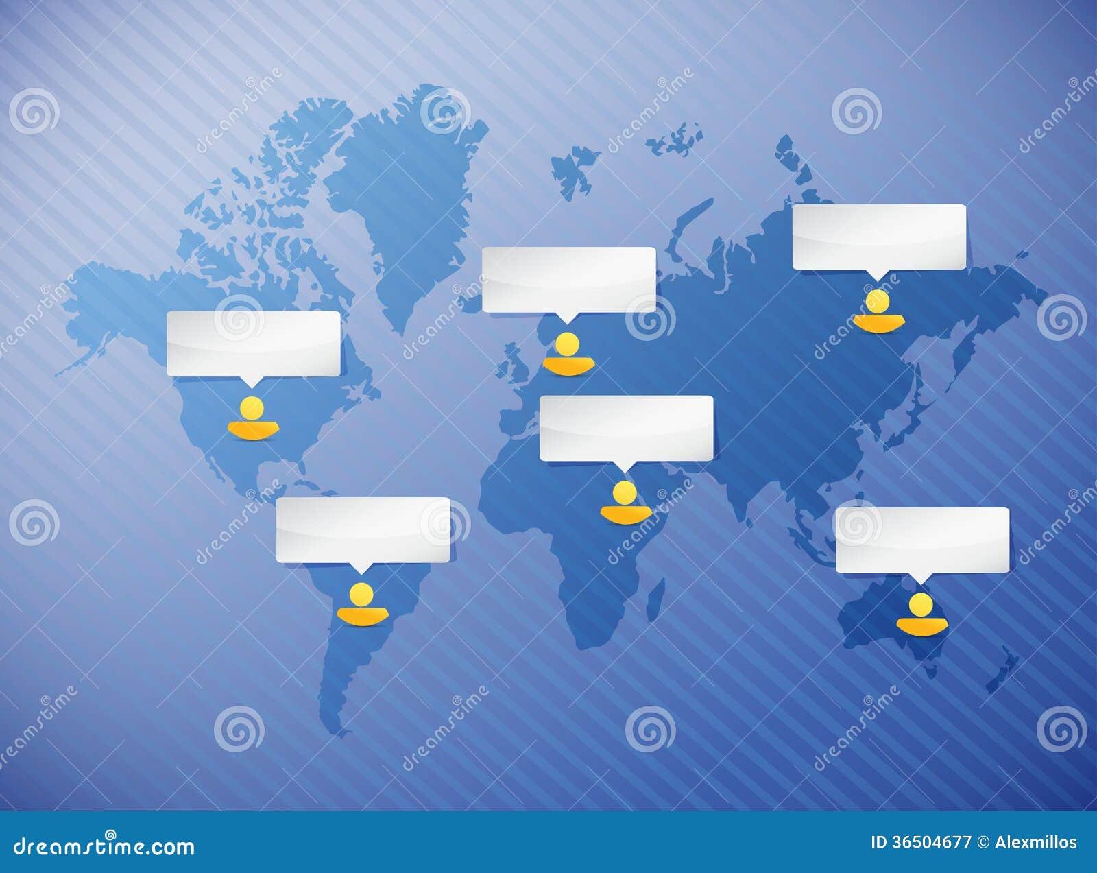 Concept de communication de personnes de carte du monde
