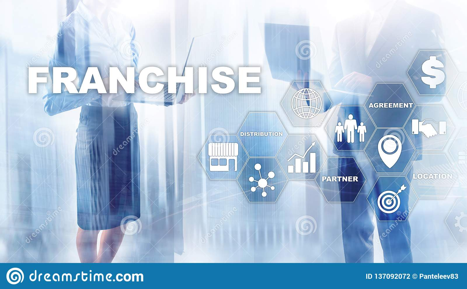 Concept de concession sur l écran virtuel Concept de marquage à chaud de commercialisation de mission de vente au détail et de tr