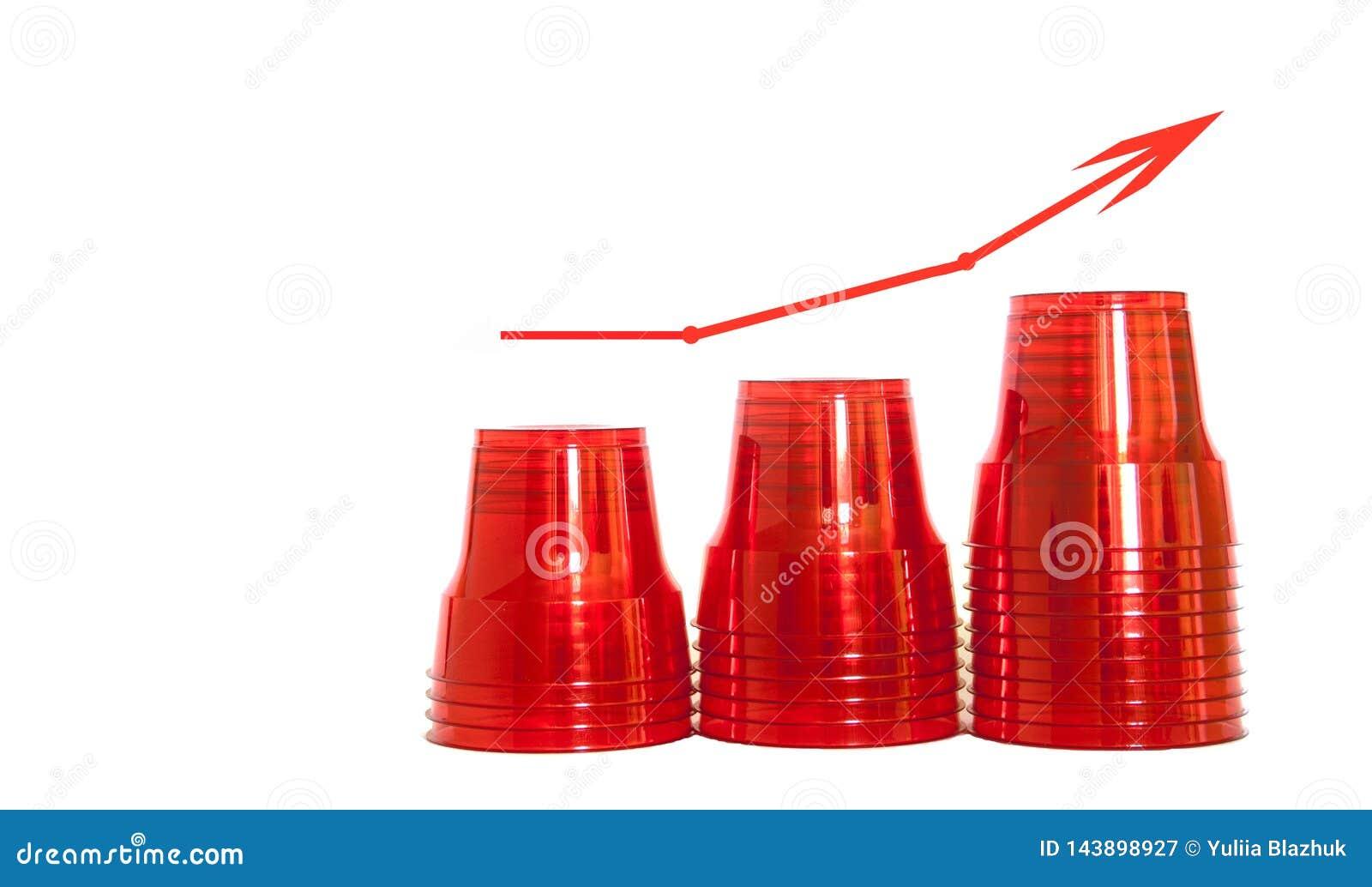 Concept de consommation en plastique en hausse Tasses en plastique rouges, d isolement