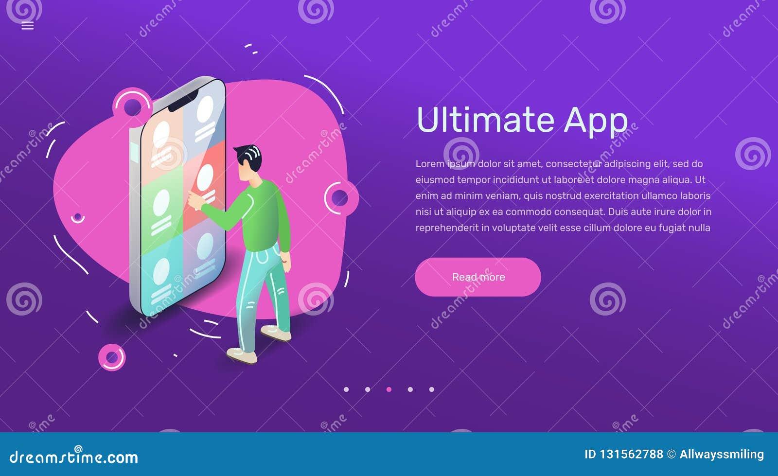 Concept de construction d utilisateur d appli de vecteur pour la bannière ou le site Web Art plat avec l application mobile de sm