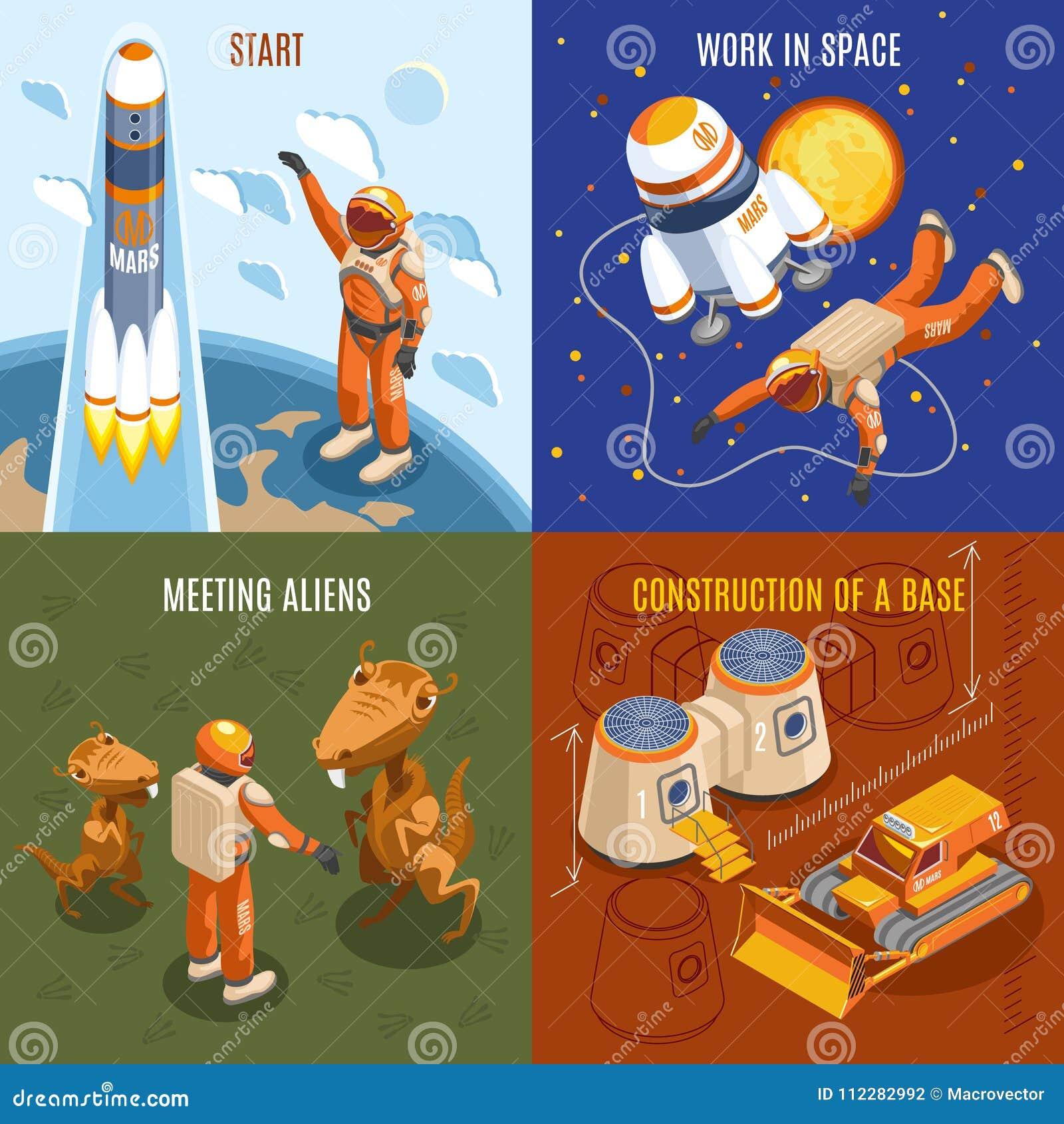 Concept de construction isométrique d exploration d espace