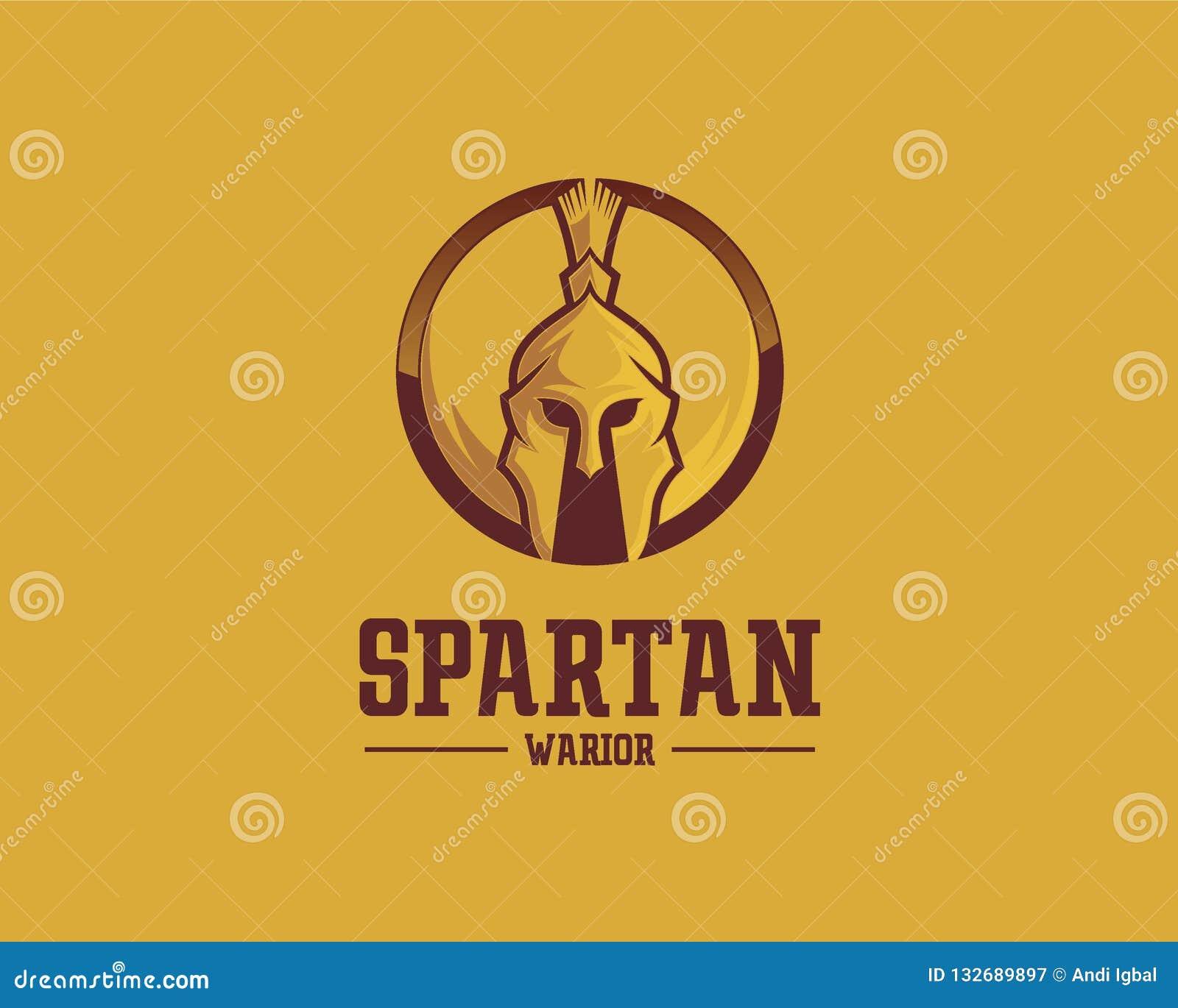 Concept de construction de logo de Spartan Warrior, calibre de vecteur de logo de sport