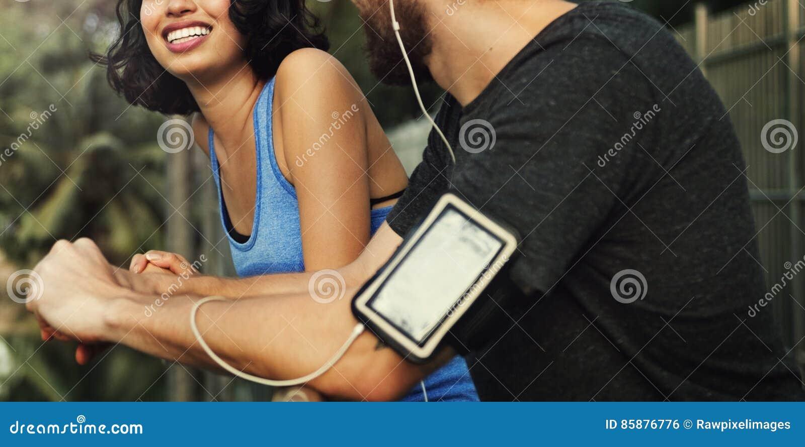 Concept de couples de coureur d exercice de forme physique de sport de séance d entraînement