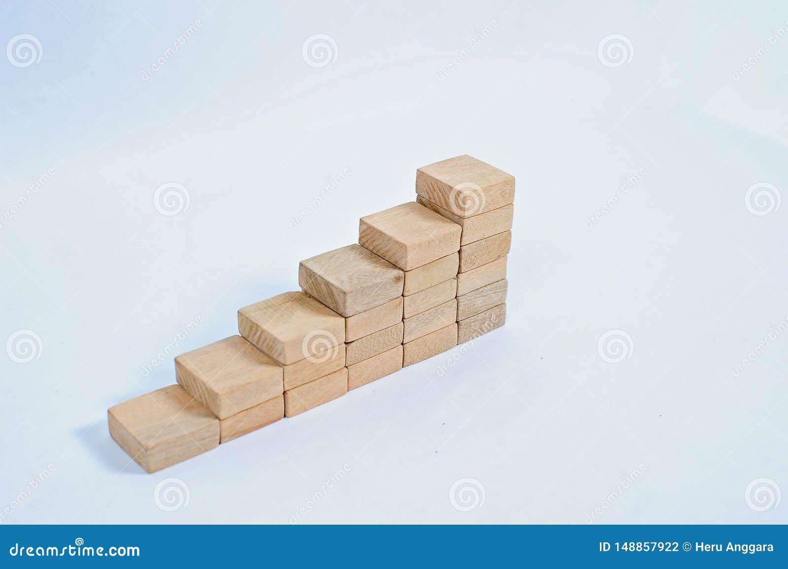 Concept de croissance des affaires, pile de bloc en bois Concept d affaires d immeubles Empilement de bloc en bois