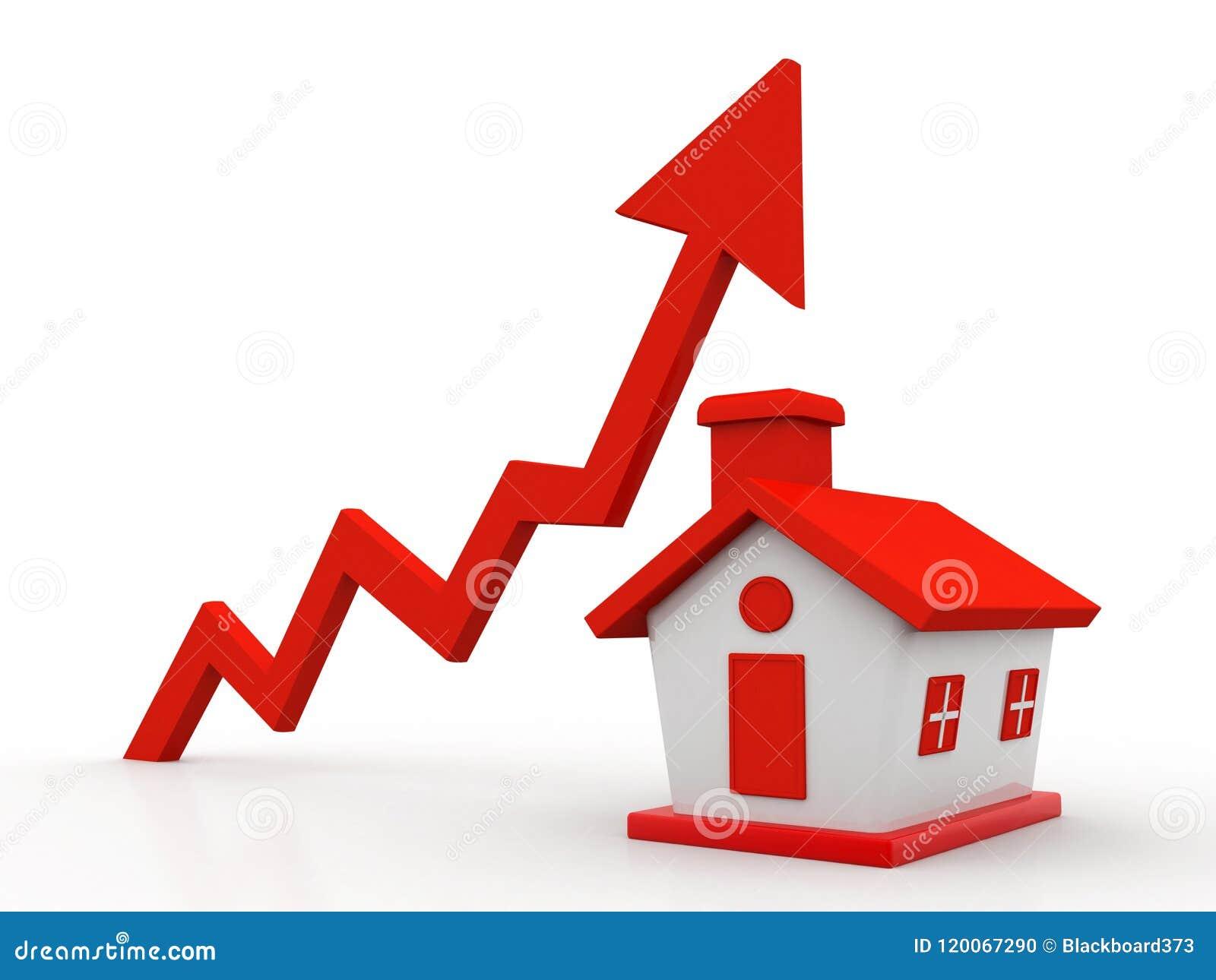Concept de croissance de Real Estate d isolement à l arrière-plan blanc 3d rendent