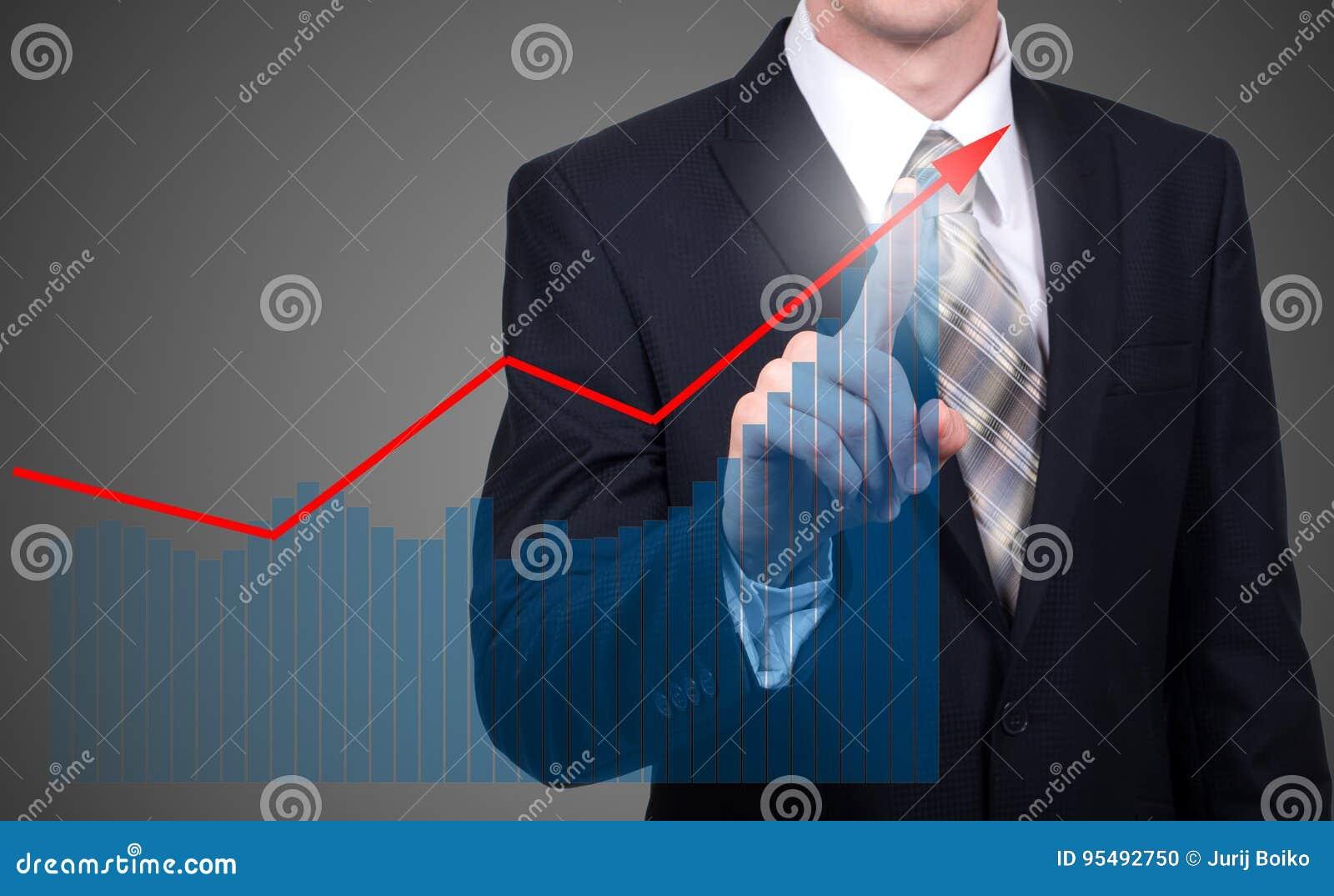 Concept de développement et de croissance Croissance de plan d homme d affaires et augmentation des indicateurs positifs de ses a