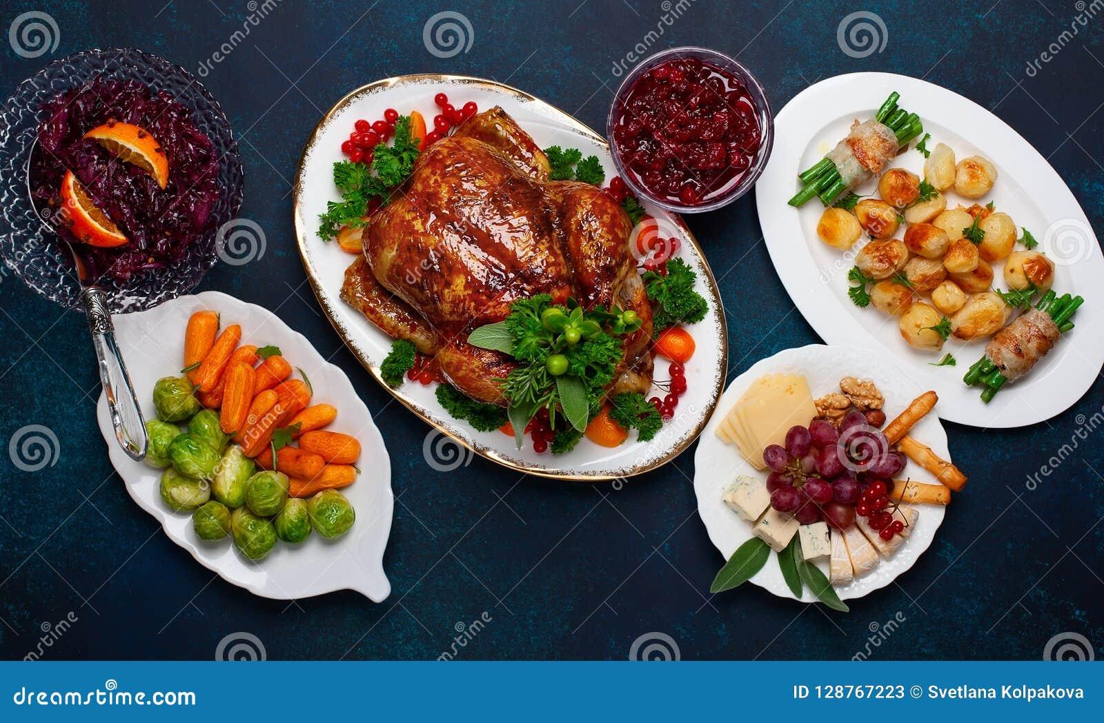 Concept de dîner de Noël ou de nouvelle année Vue supérieure