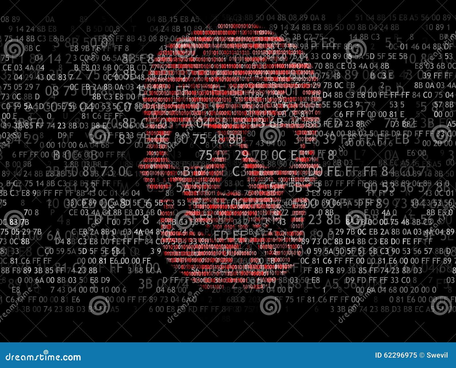 concept de degr de s curit d ordinateur le cr ne du code hexad cimal pirate en ligne criminels. Black Bedroom Furniture Sets. Home Design Ideas