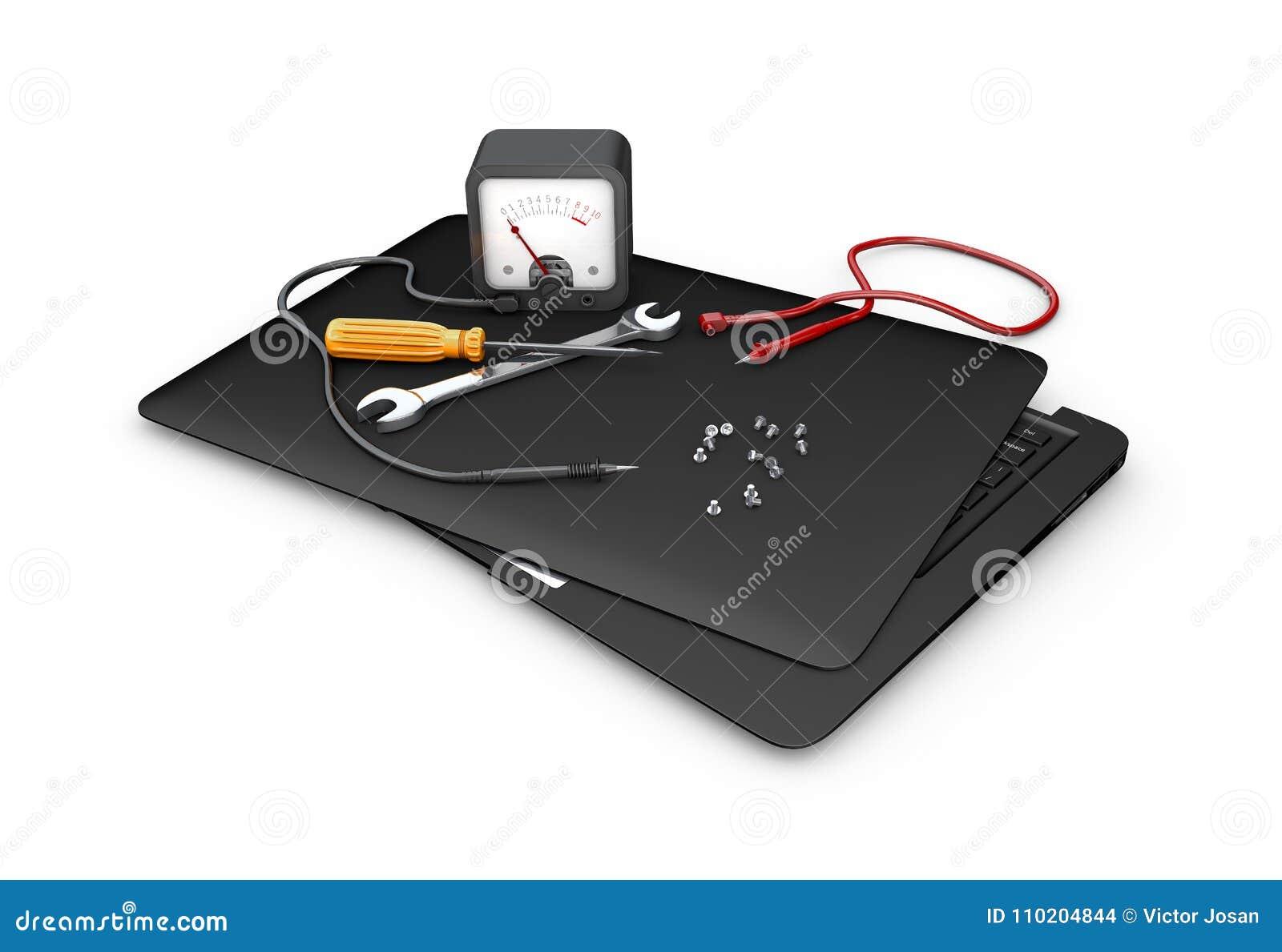Concept de diagnostic et de réparation Outils et ordinateur portable, illustration 3d
