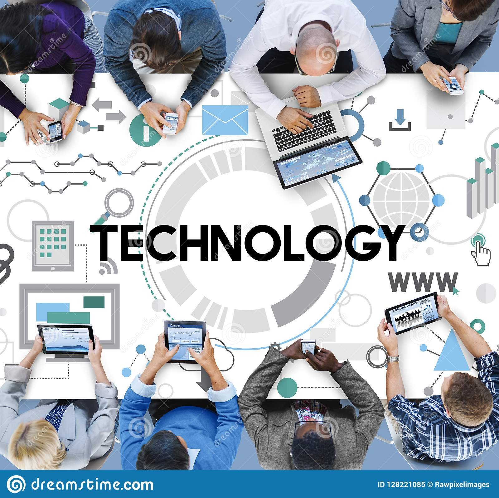 Concept de Digital de mise en réseau de connexion de technologie