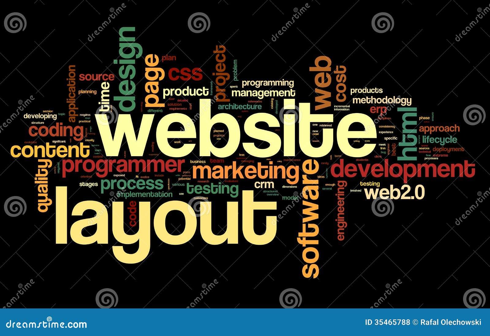 Concept de disposition de Web en nuage de tags de mot