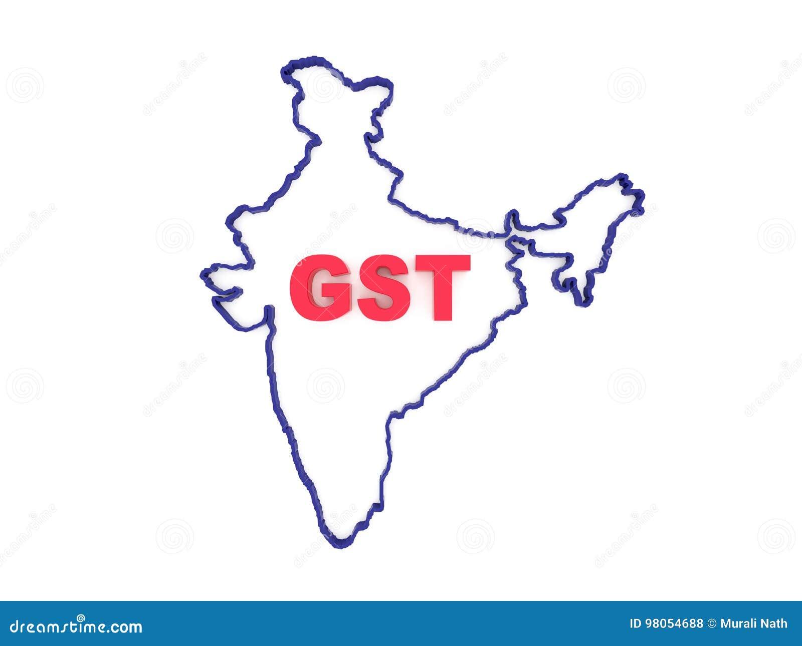 Concept de G S T avec la carte indienne