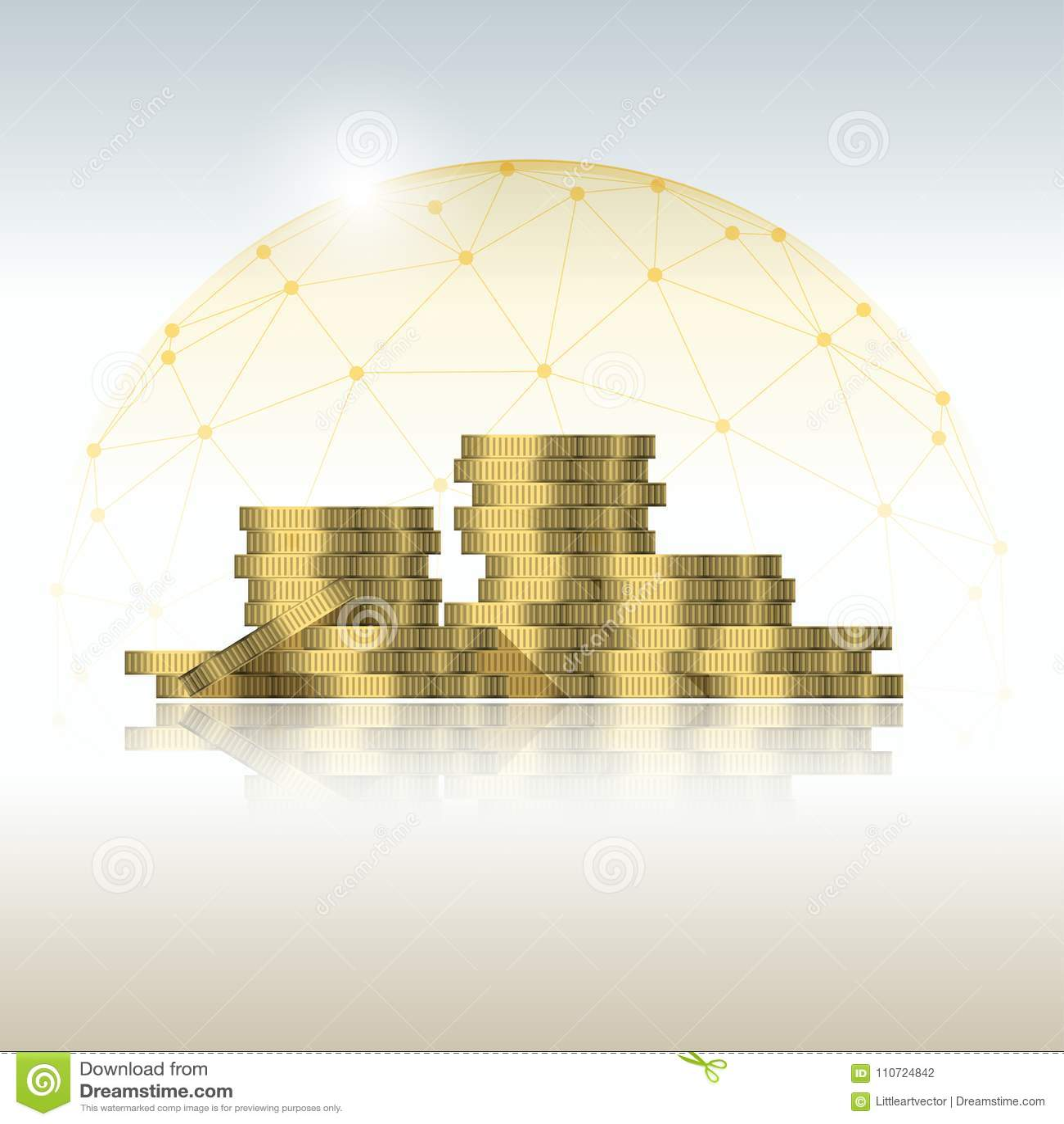 Concept de gestion financière avec des piles de pièce de monnaie protégées dans le bouclier polygonal de dôme