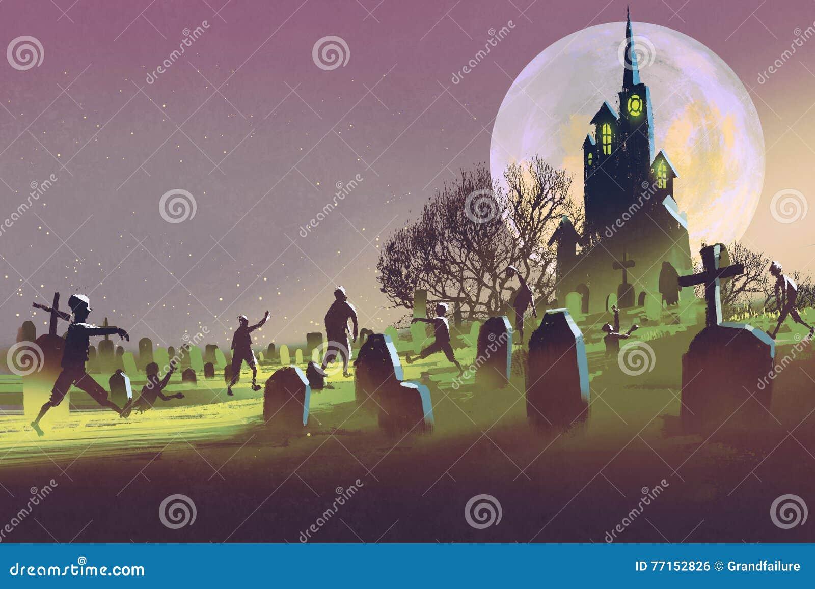 Concept de Halloween, cimetière avec des zombis la nuit