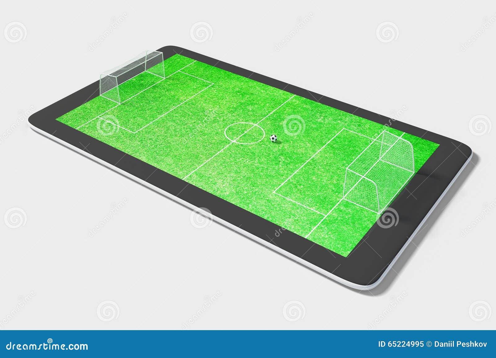 Concept de jeu d Onlie avec le comprimé numérique et le terrain de football