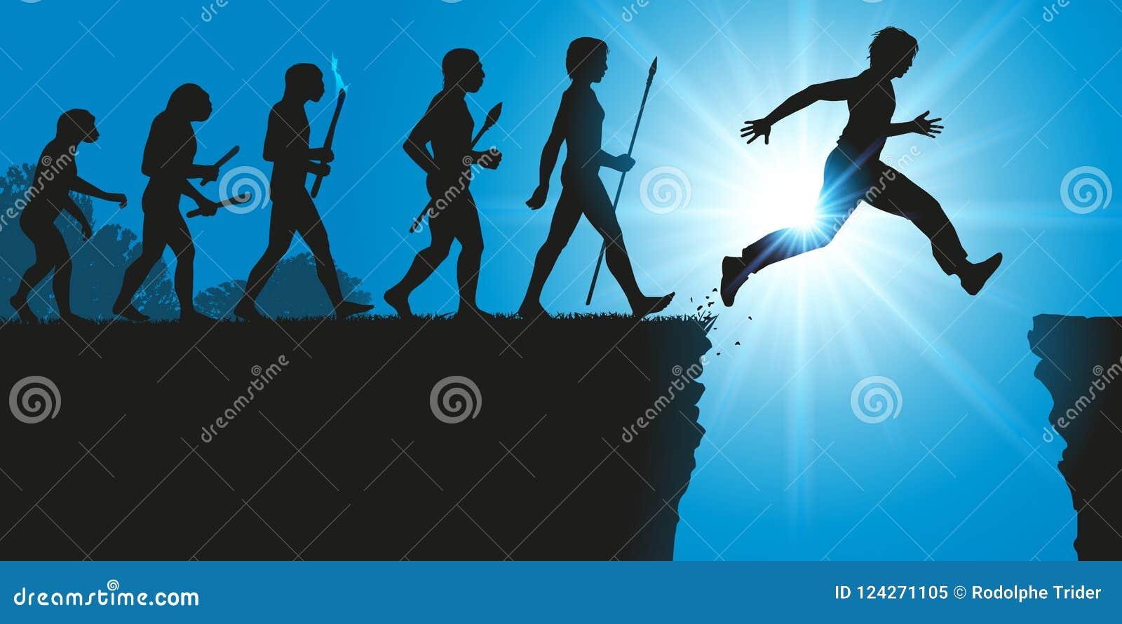 Concept de l évolution de l humanité avec un saut dans l inconnu