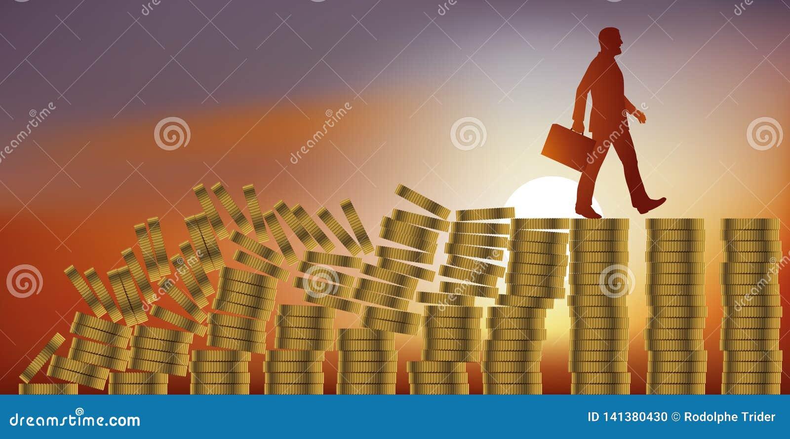 Concept de l effet de domino avec un financier crédule qui ne voit pas la crise économique derrière lui
