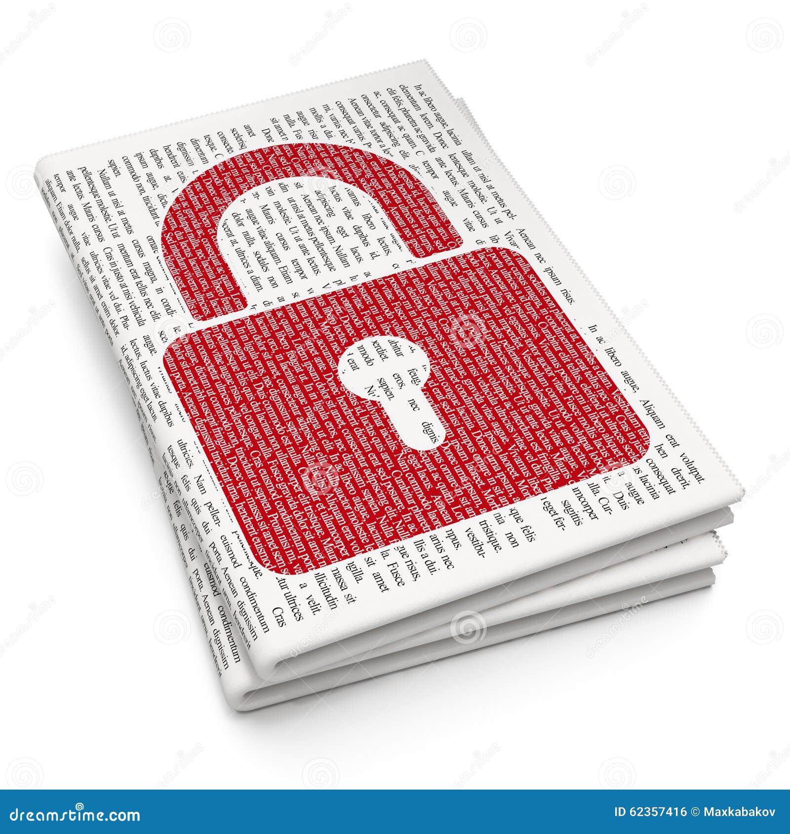 Concept de l information : Cadenas fermé sur le journal