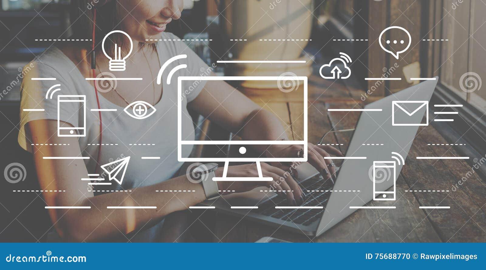 Concept de l information de technologie de connexion de communication d ordinateur