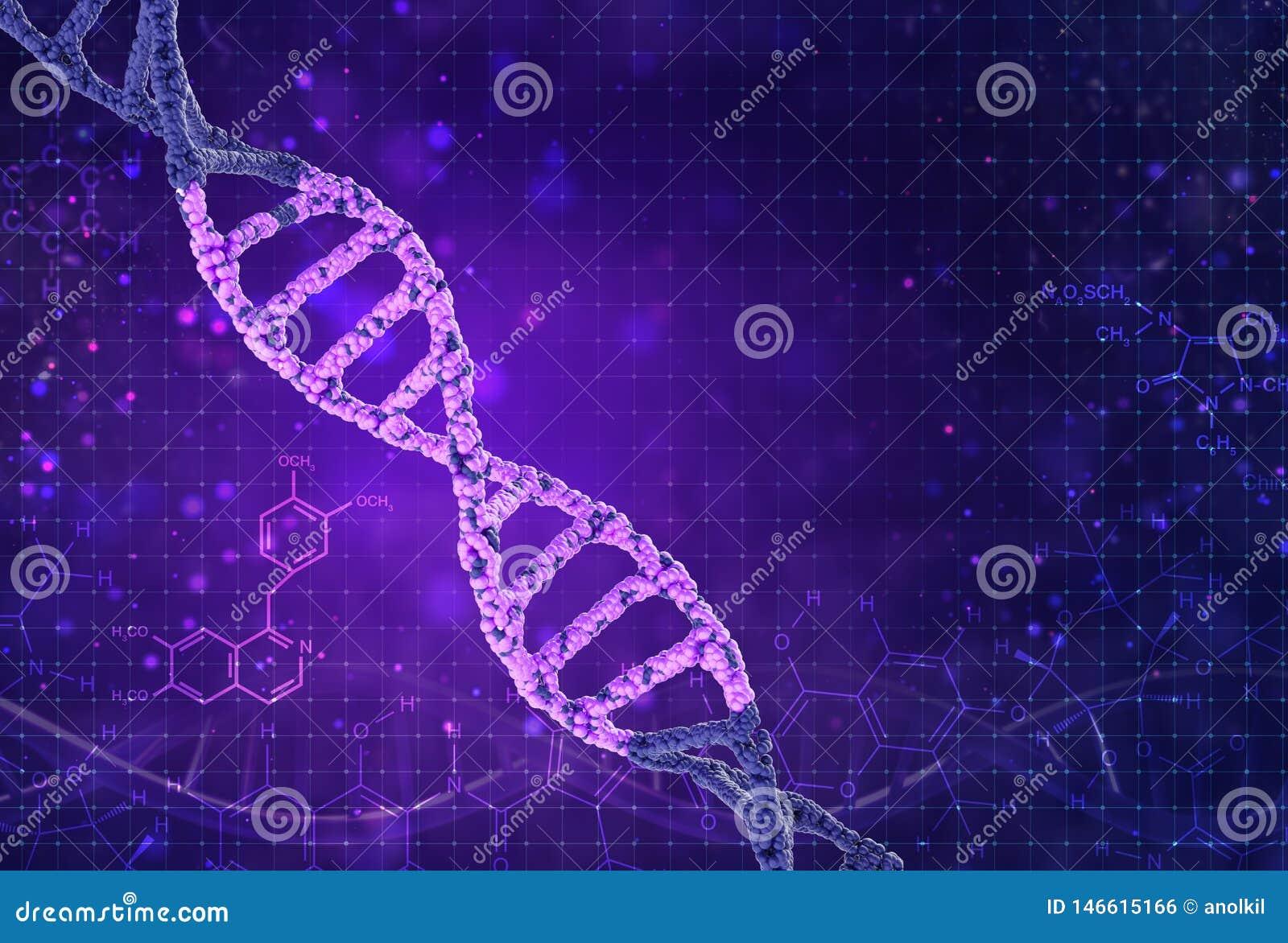 Concept de la biochimie avec la mol?cule d ADN sur le fond de couleur Fond de concept de la Science
