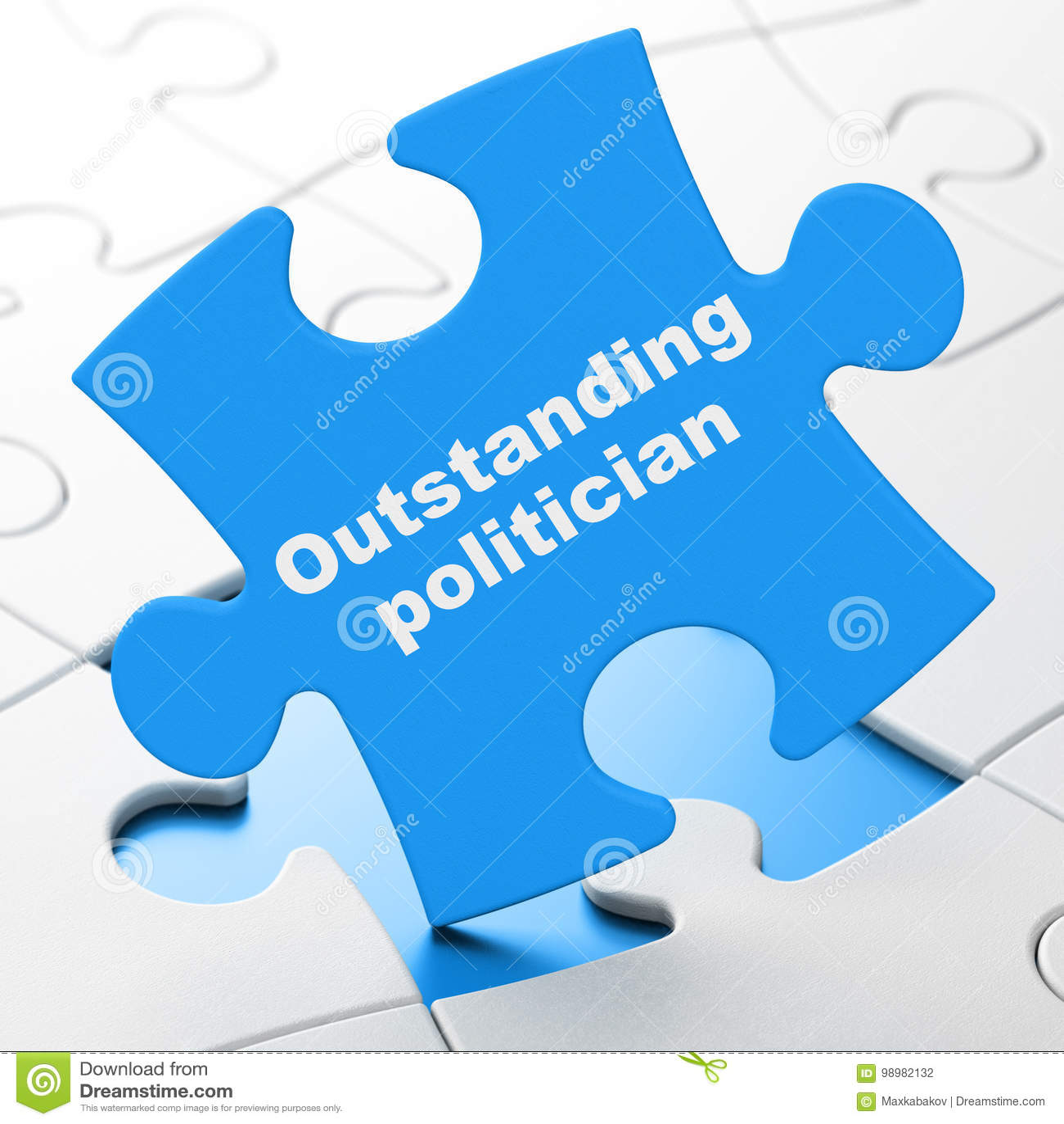 Concept de la politique : Politicien exceptionnel sur le fond de puzzle