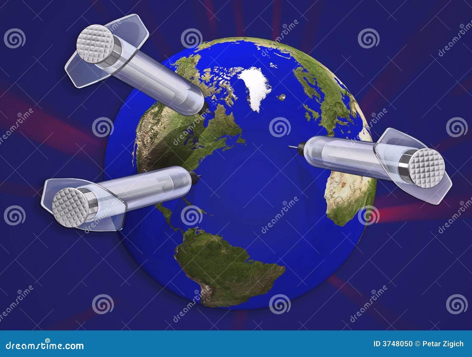 Concept de la terre et du pointeau 3d