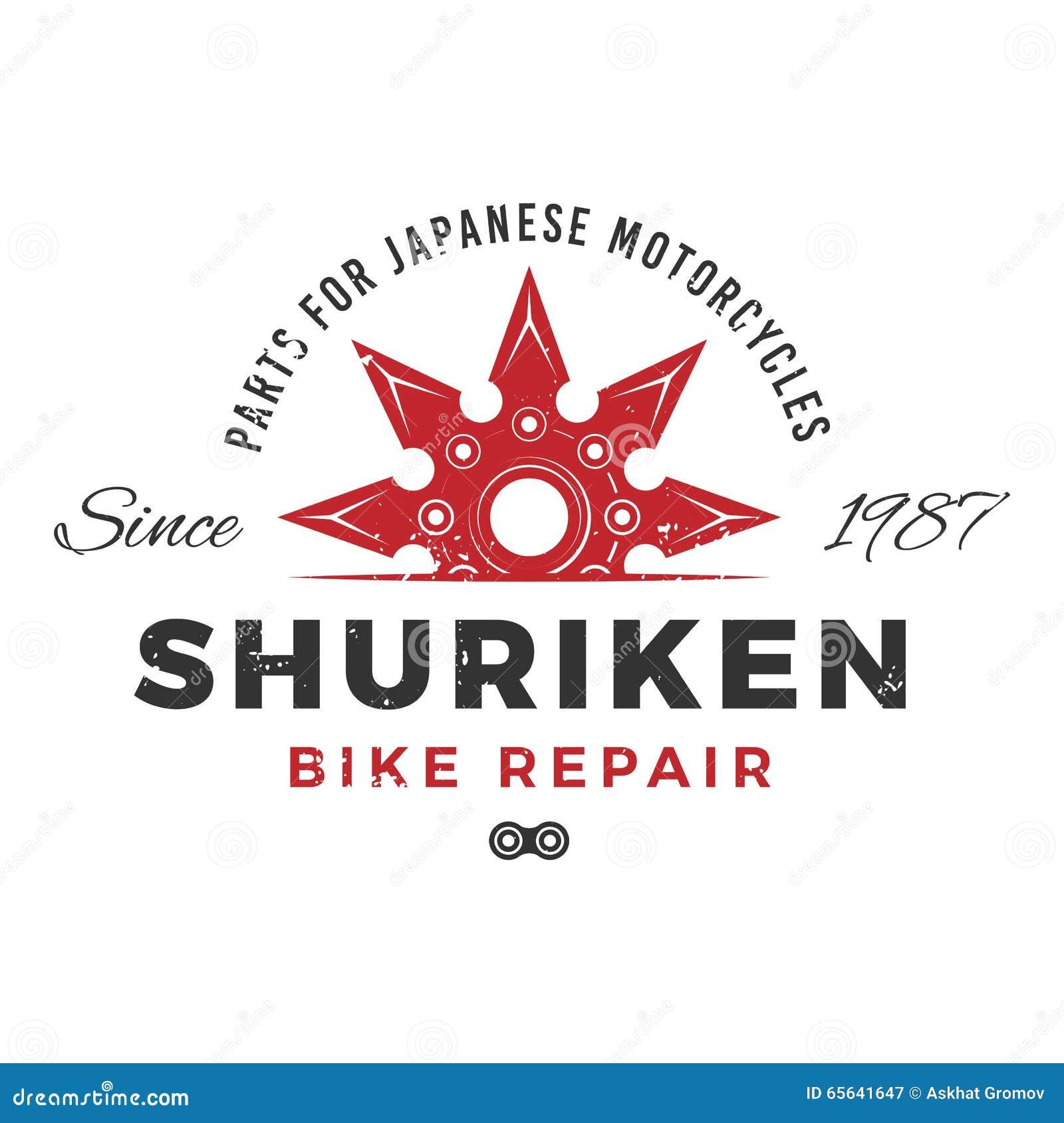 Concept de logo de service des réparations de vélo du Japon Conception d insignes d arme de Ninja Le vintage shuriken l insigne L